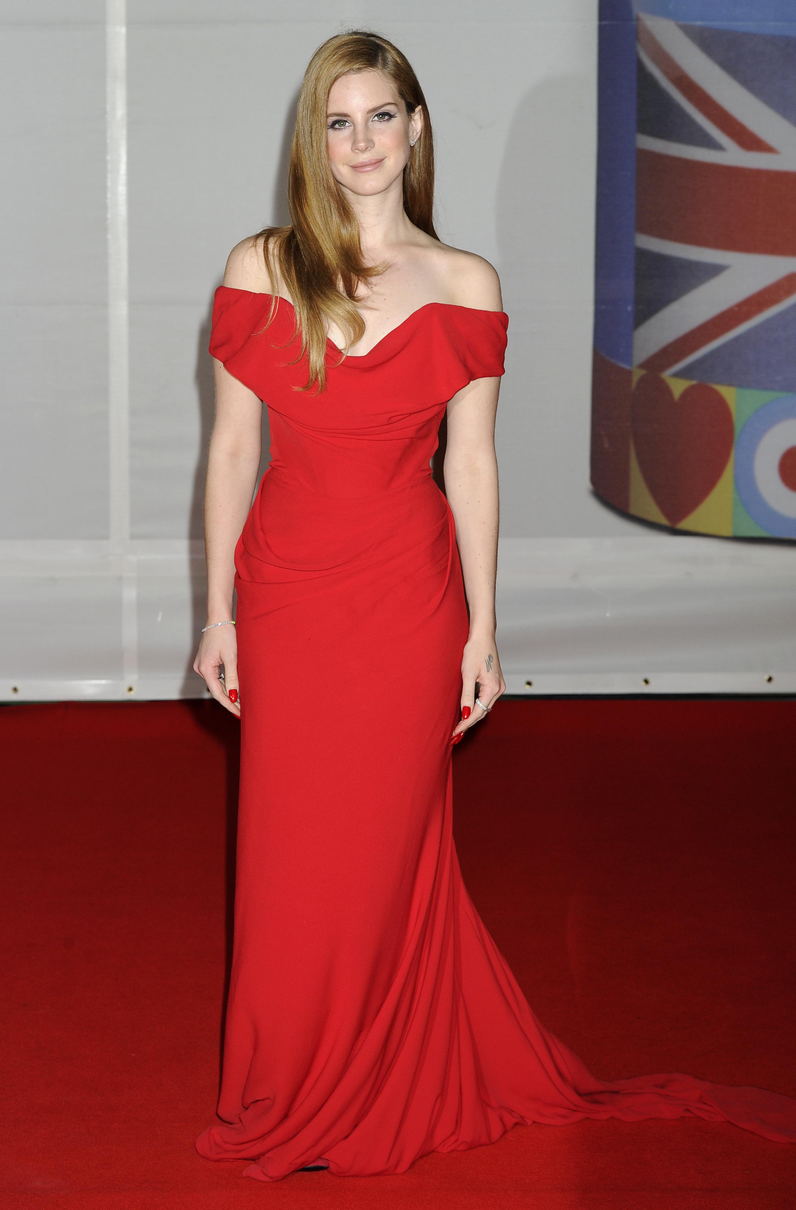 lana del rey red dress