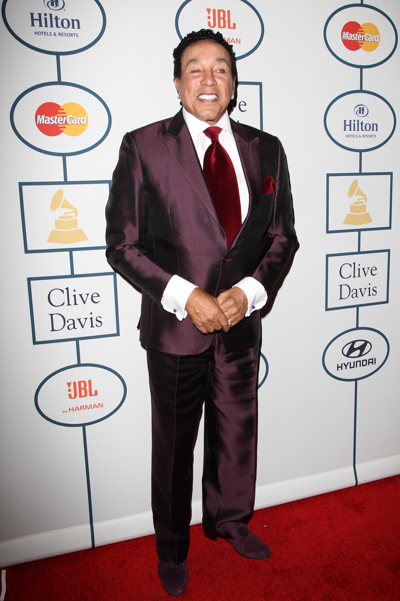 Smokey Robinson Clive Davis Grammy party