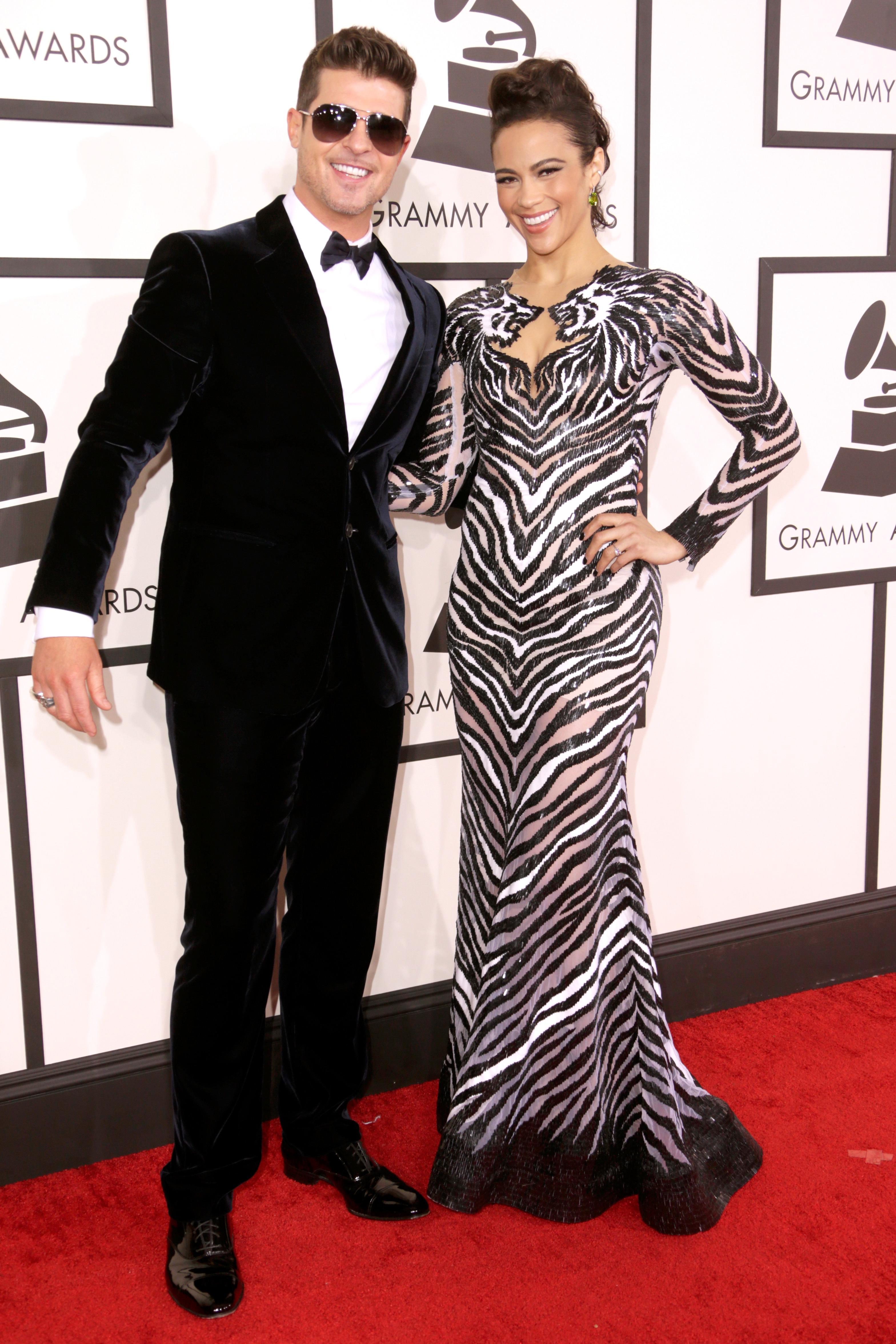 Robin Thicke Paula Patton Grammys 2014