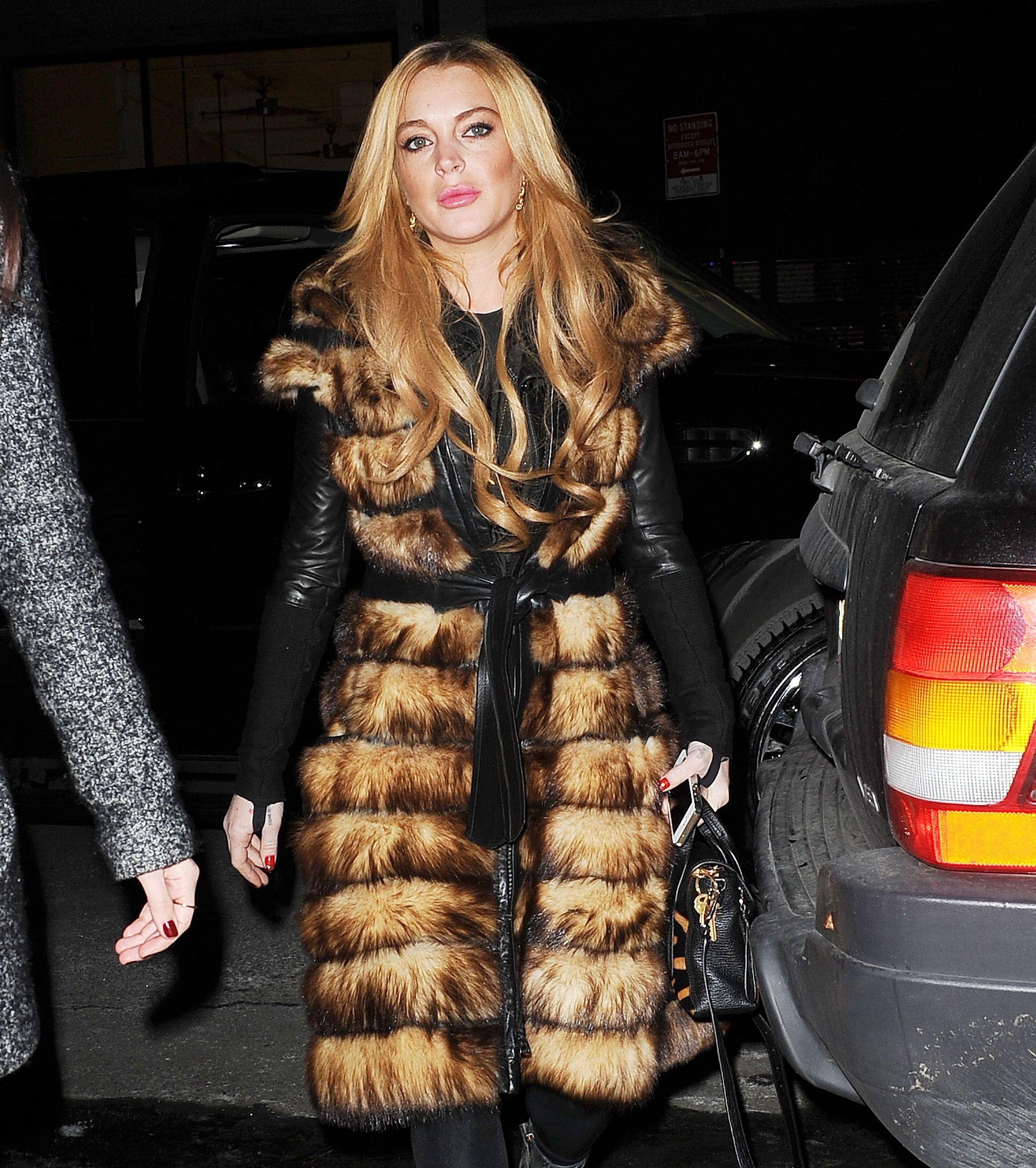 Lindsay Lohan fur