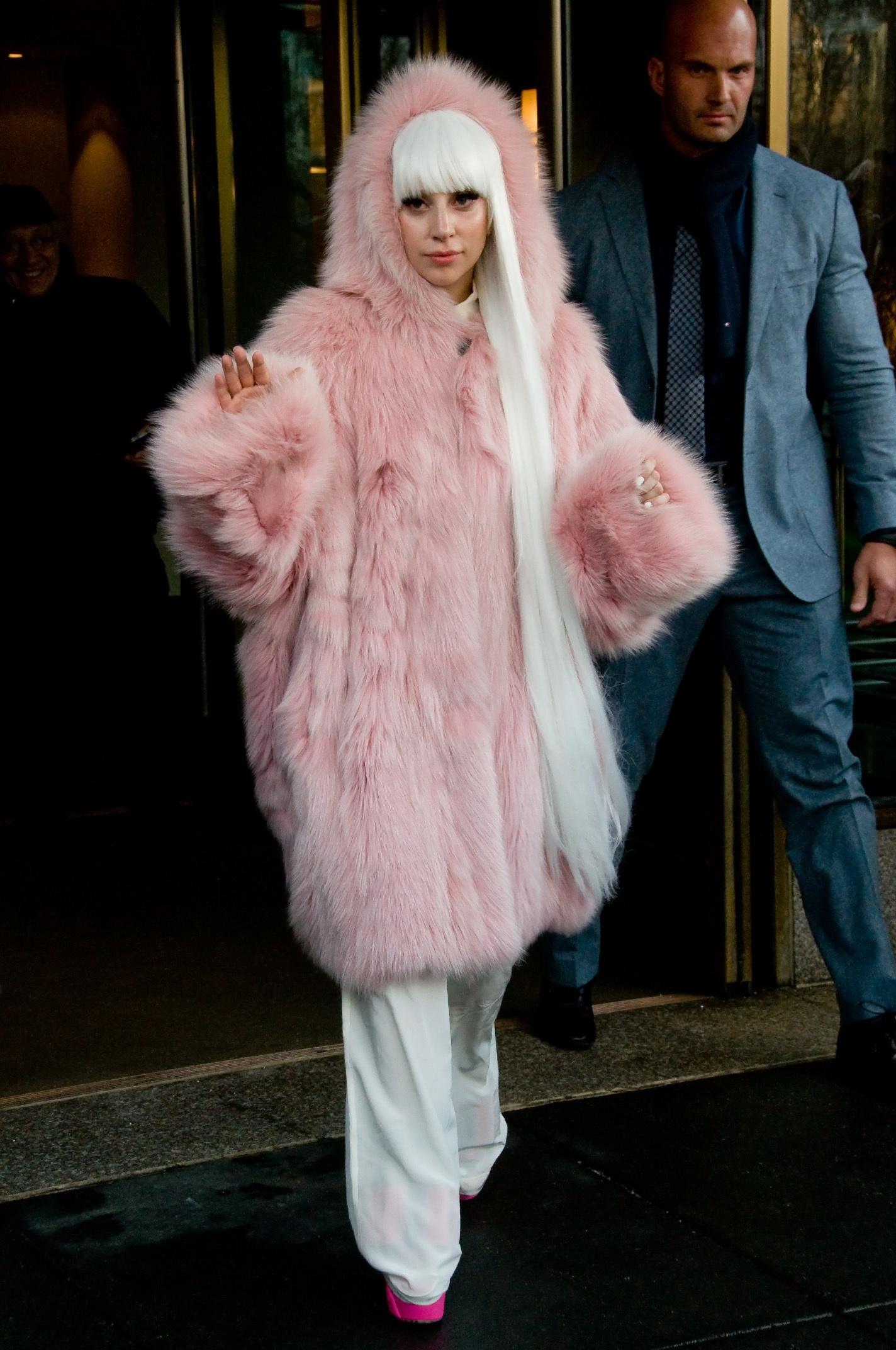 Lady Gaga pink fur