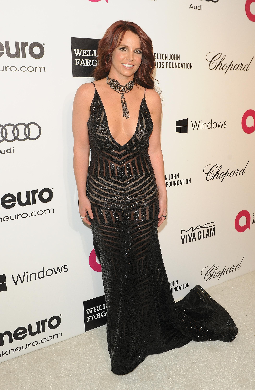 Britney Spears Elton John Oscars party
