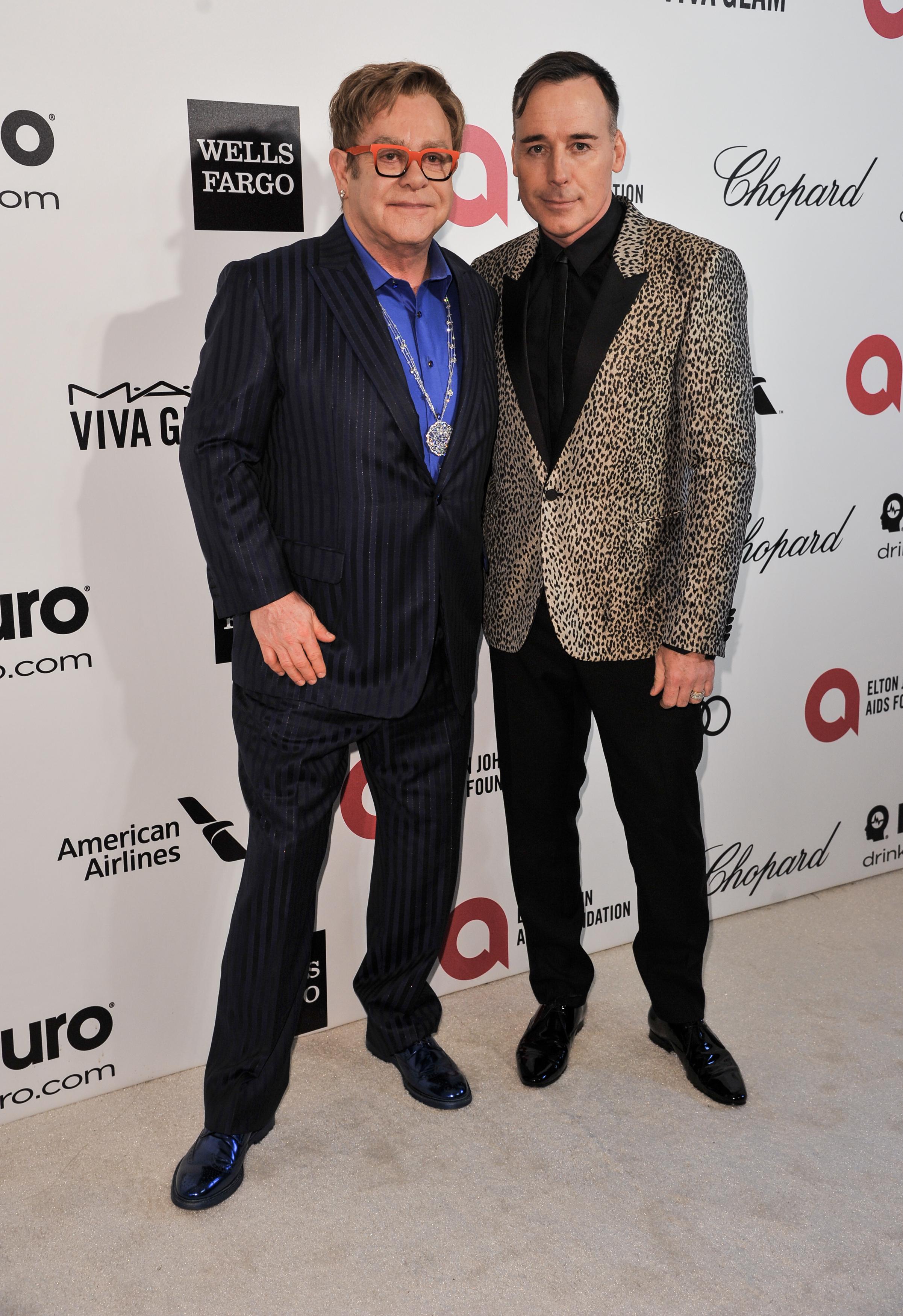Elton John David Furnish Oscars party