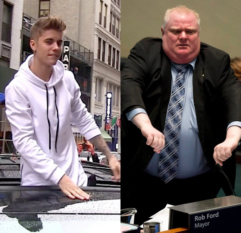 Justin Bieber and Rob Ford
