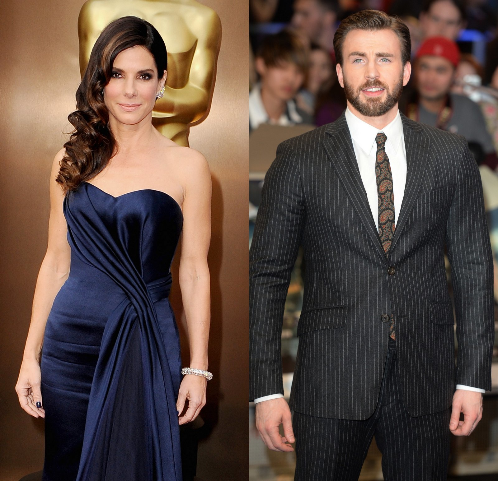 Sandra Bullock and Chris Evans
