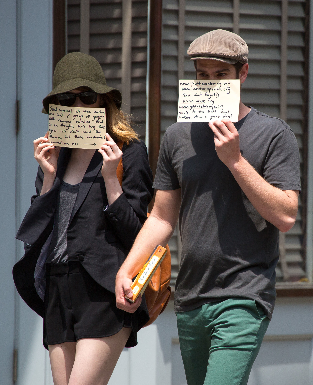 Emma Stone Andrew Garfield charity paparazzi