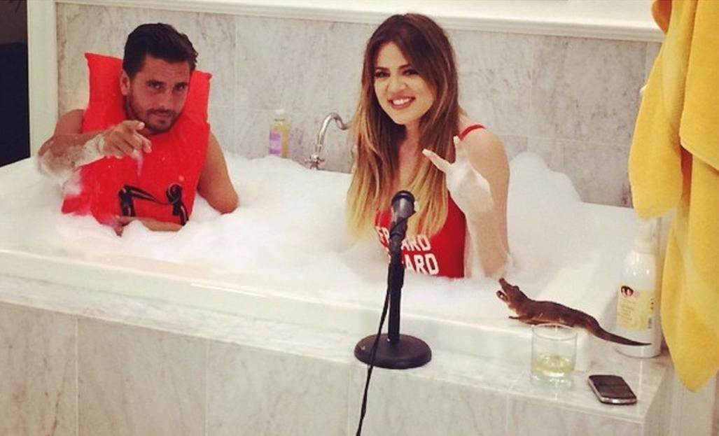 Khloe Kardashian Scott Disick bathtub