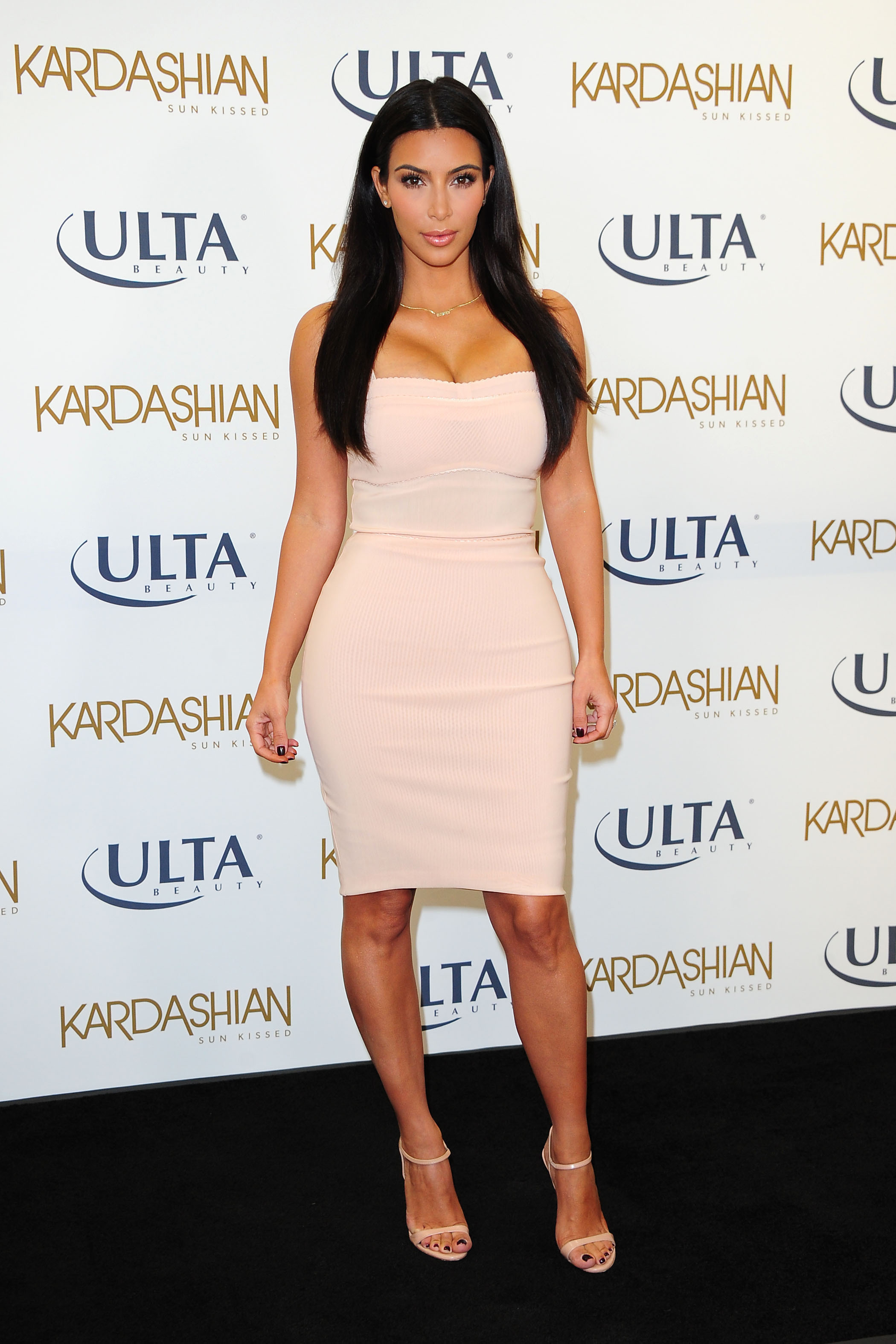 kim kardashian cream dress