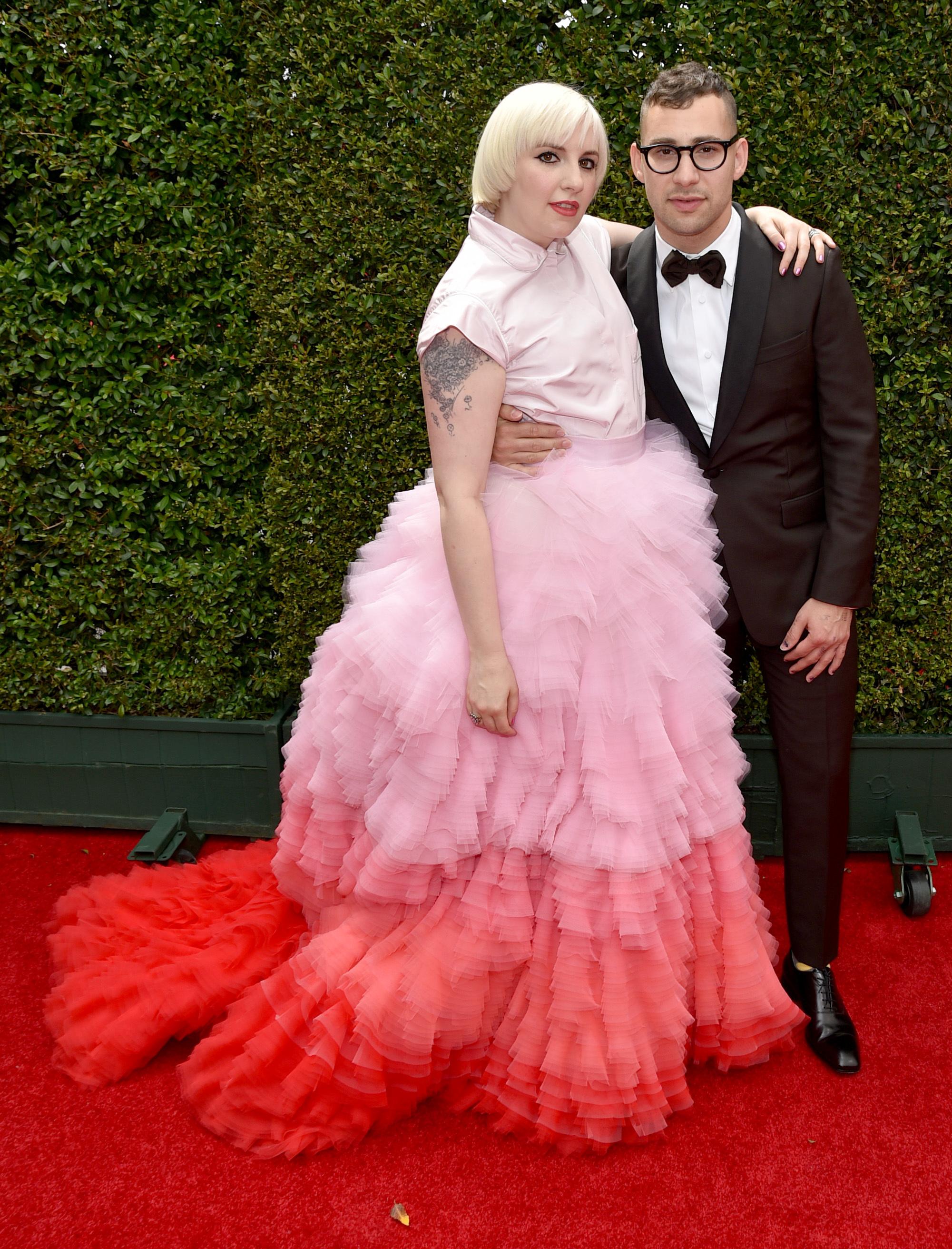 lena dunham pink dress jack antonoff