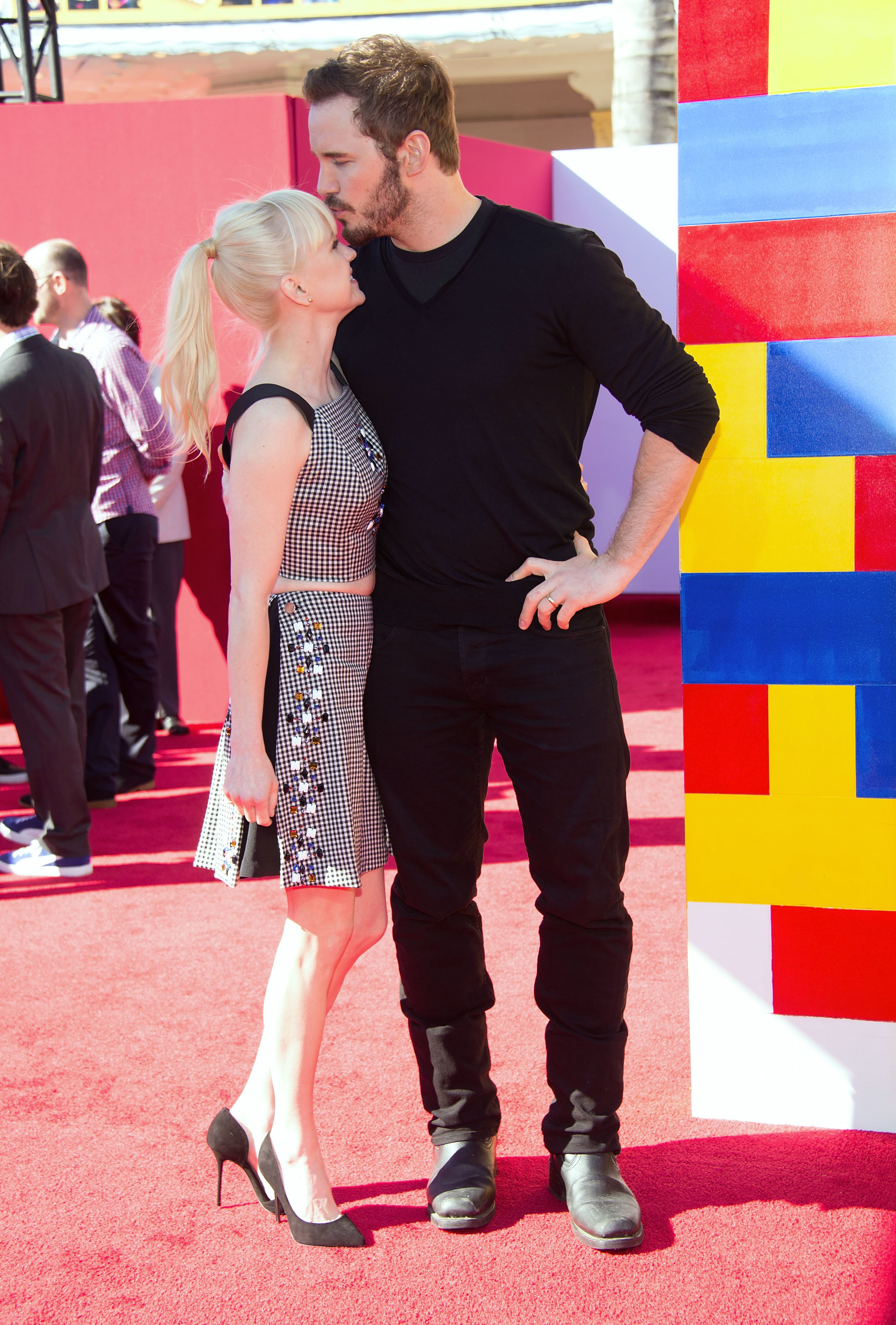 """Anna Faris and Chris Pratt arrive at the Los Angeles premiere of """"The Lego Movie"""" at the Regency Village Theatre on Feb. 1, 2014."""