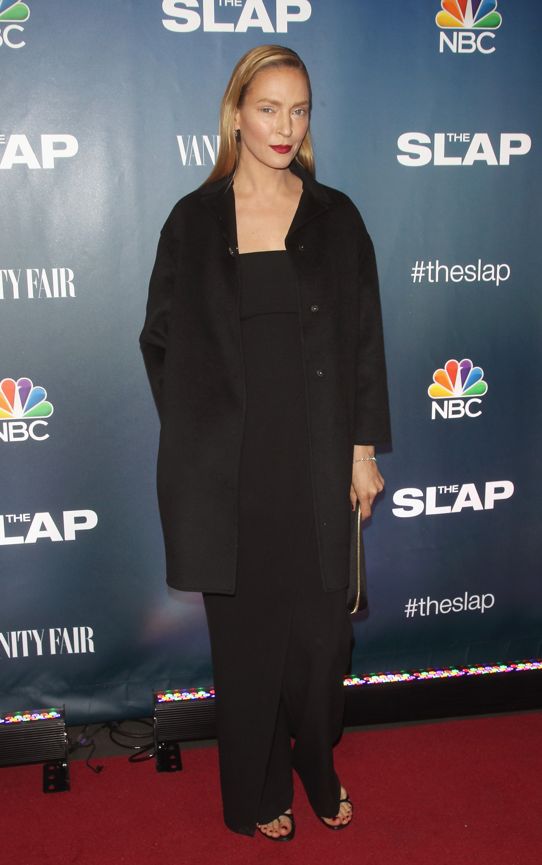 Uma Thurman looks almost unrecognizable on 'The Slap' red carpet