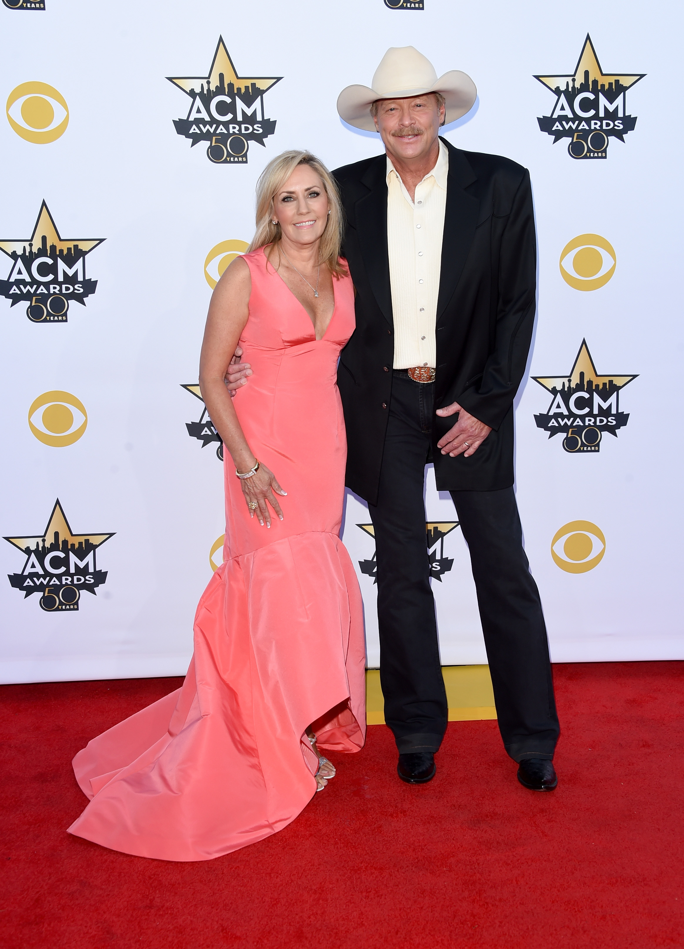 Alan Jackson and his wife, Denise Jackson, attend the 50th Academy of Country Music Awards at AT&T Stadium in Arlington, Texas, on April 19, 2015.