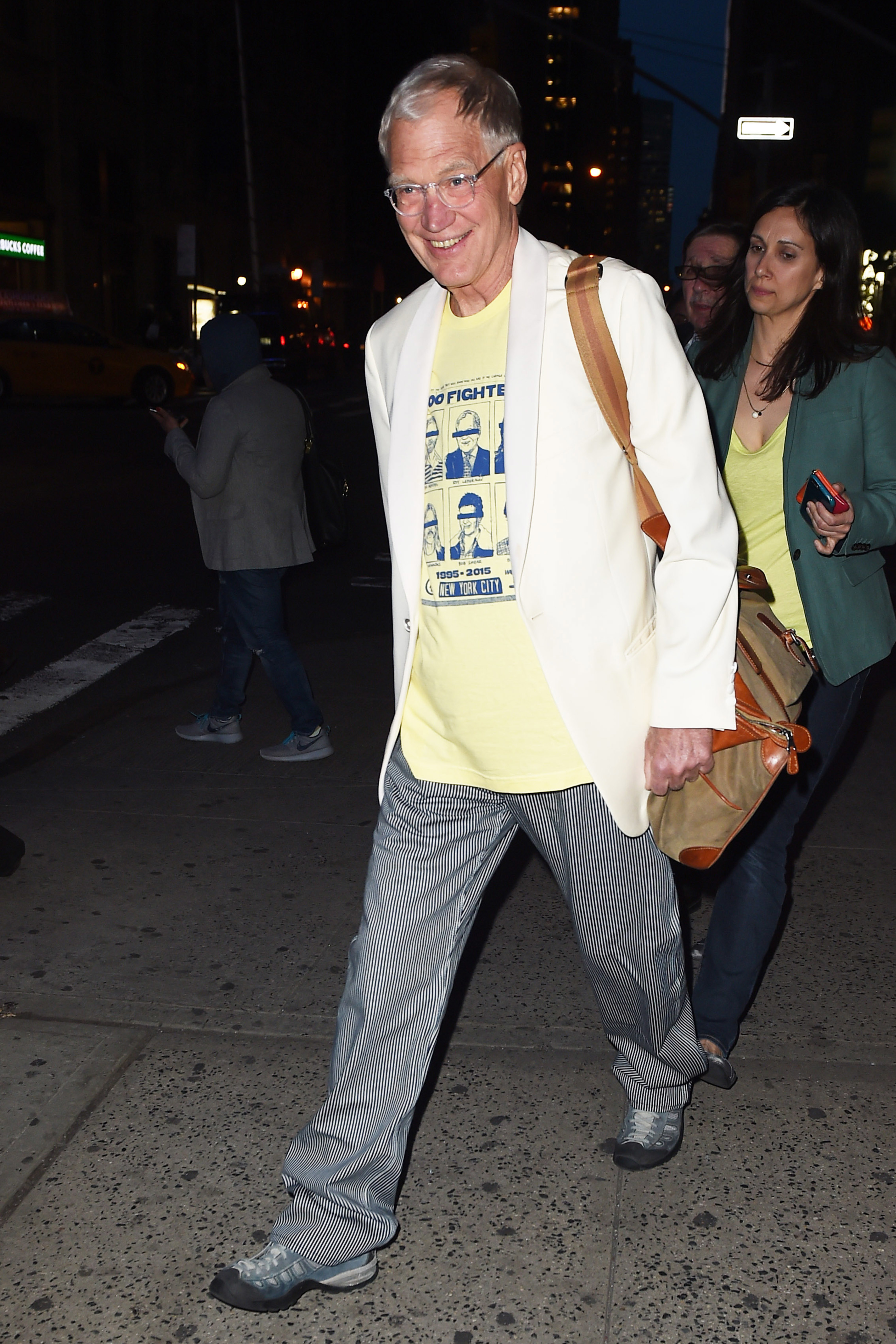 David Letterman, man of the people, walks to his afterparty