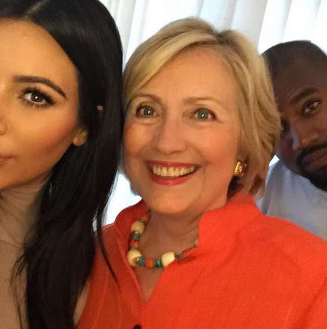 Kimye snap a selfie with Hillary Clinton