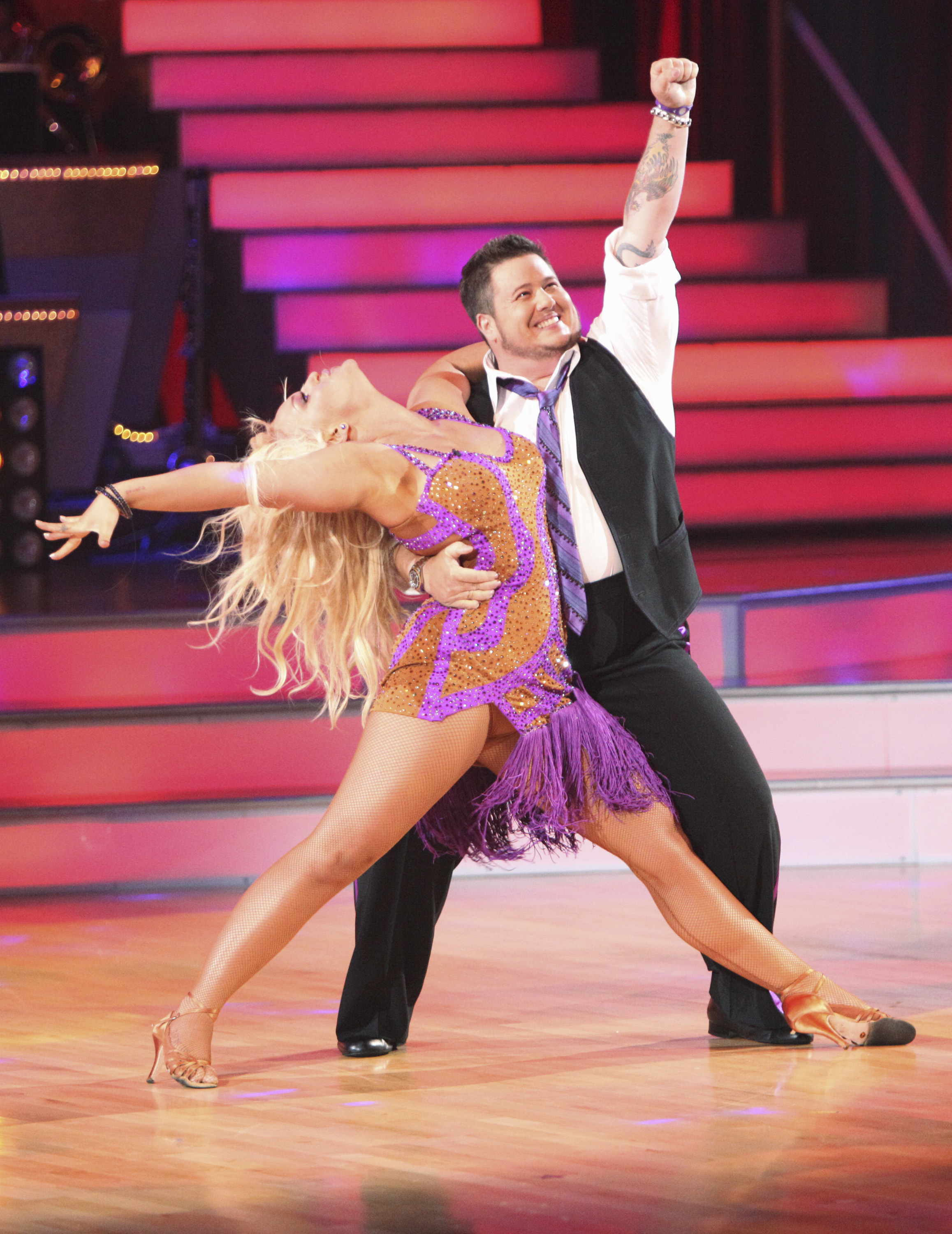 """On Season 13 of """"Dancing With the Stars,"""" Chaz Bono competes with Lacey Schwimmer in September 2011."""