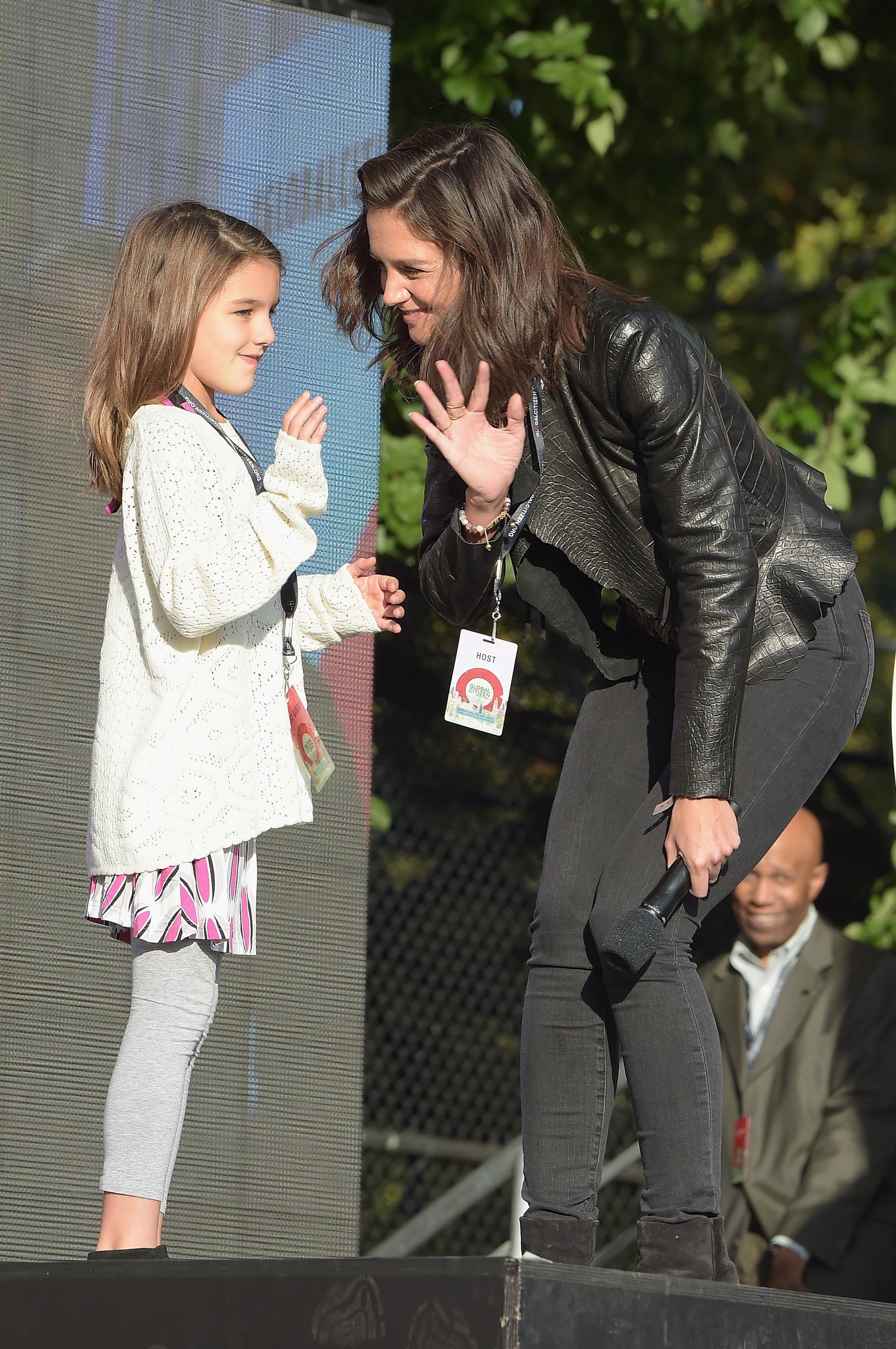 Suri Cruise joins her mom onstage at the Global Citizens Festival