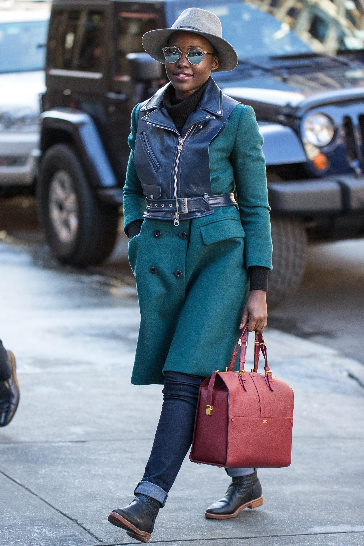 Lupita Nyong'o street style - turquoise coat - Lupita ...