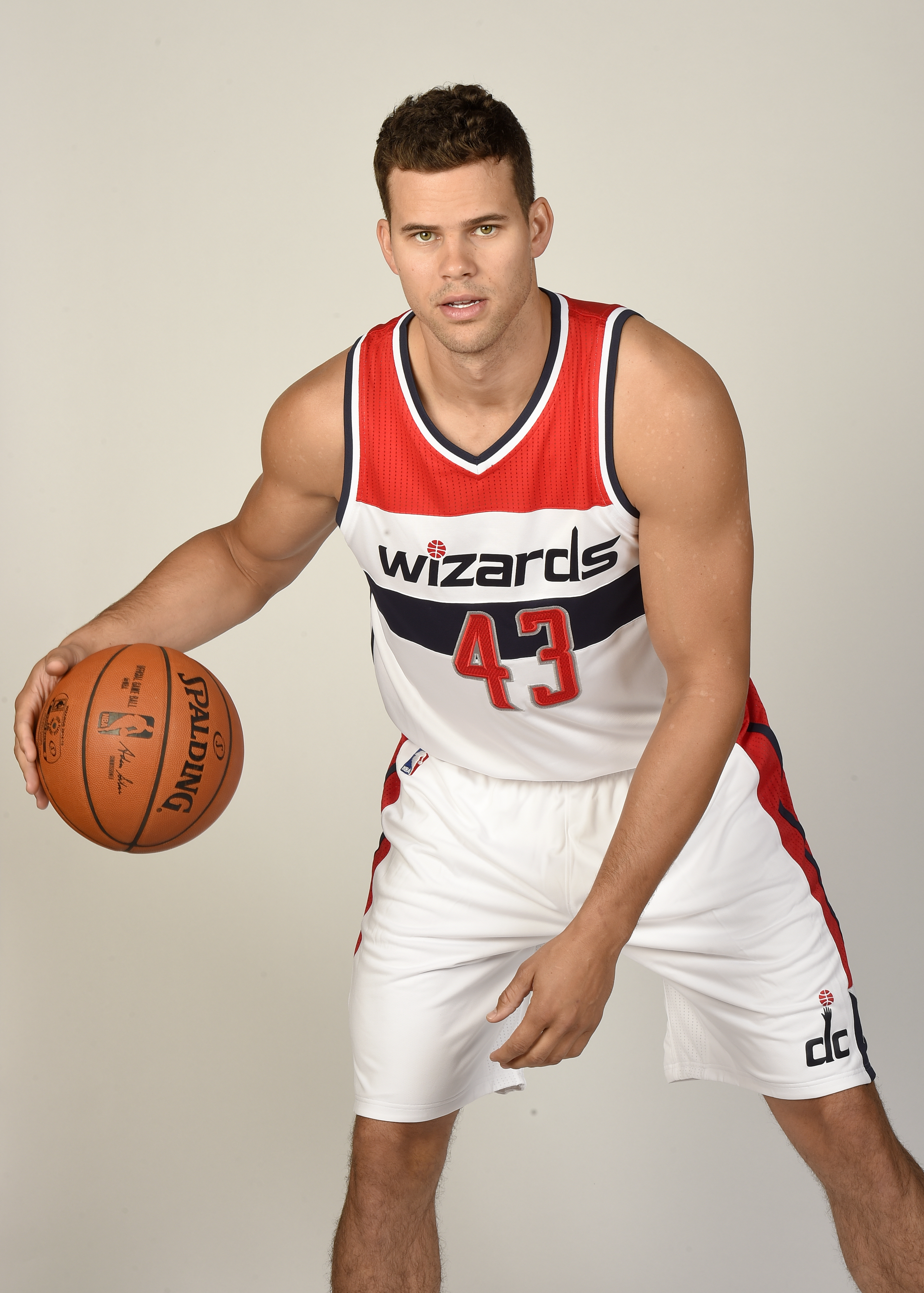 Kris Humphries poses during a media day for the Washington Wizards NBA team in Washington on Sept. 28, 2015.