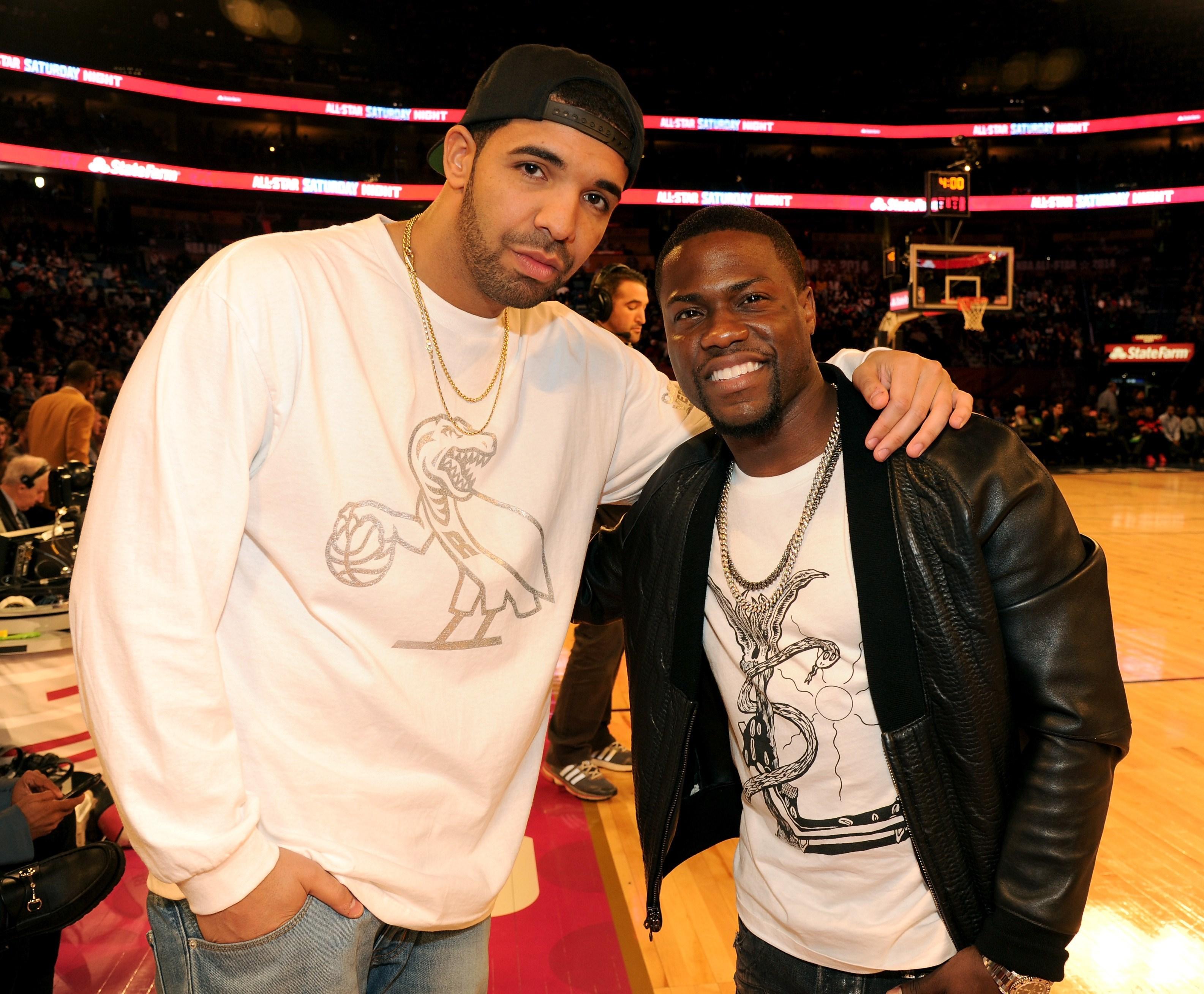 Drake and Kevin Hart facing off at NBA Celeb All Star Game