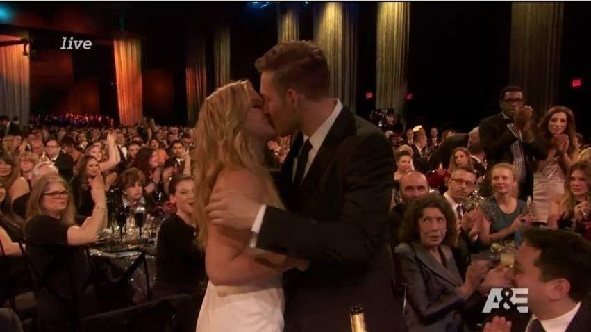 Amy Schumer hugs boyfriend Ben Hanisch at Critcs Choice