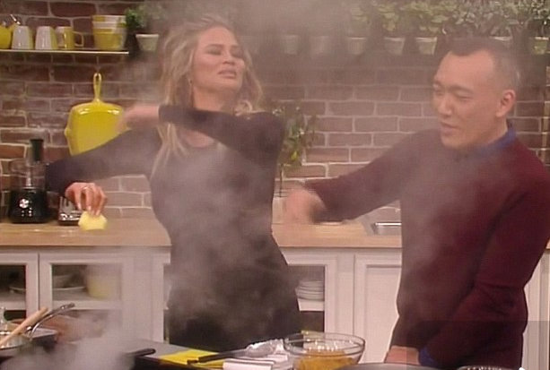 Chrissy Teigen has a kitchen mishap on FabLife