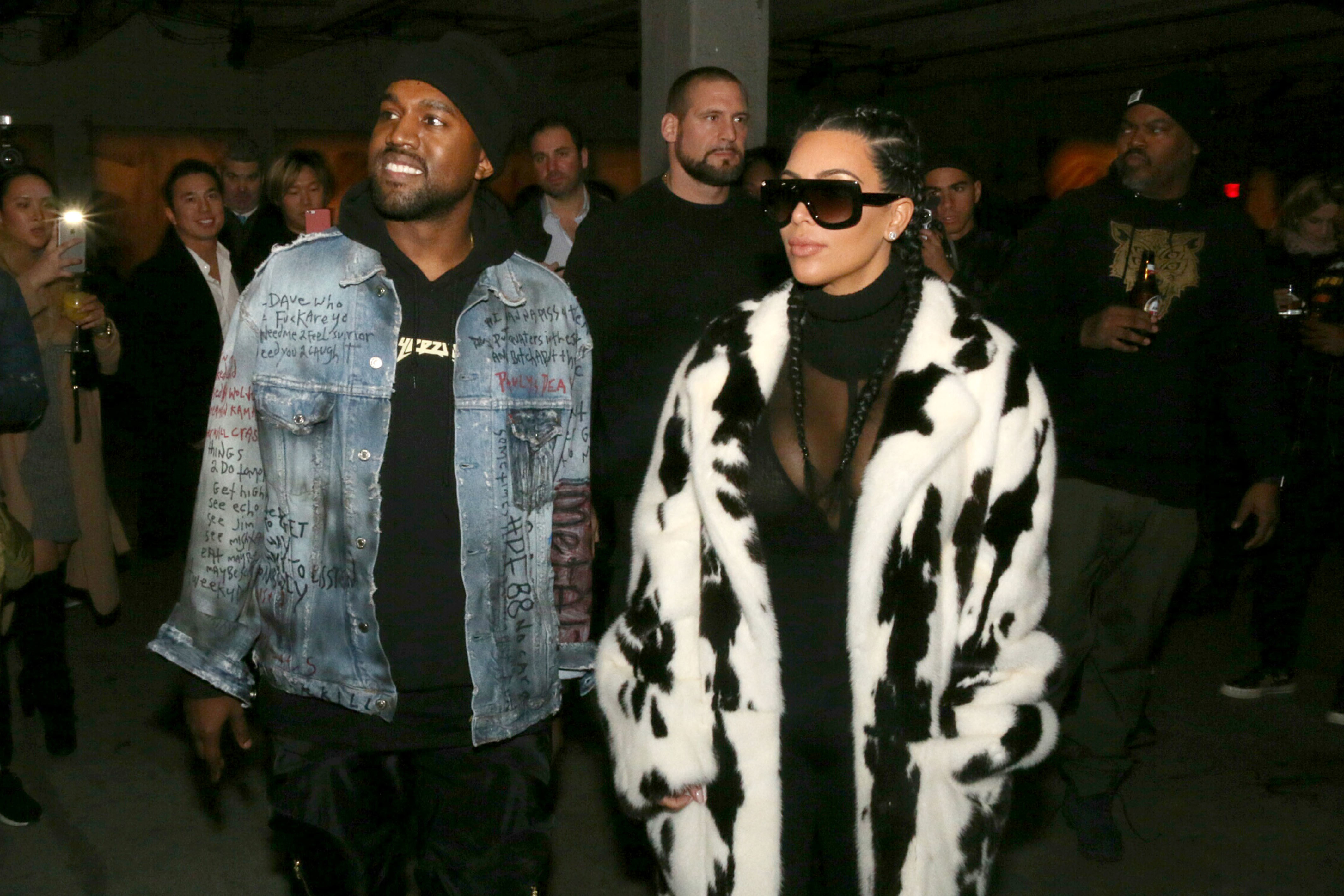 kanye west and kim kardashian out and about grammy