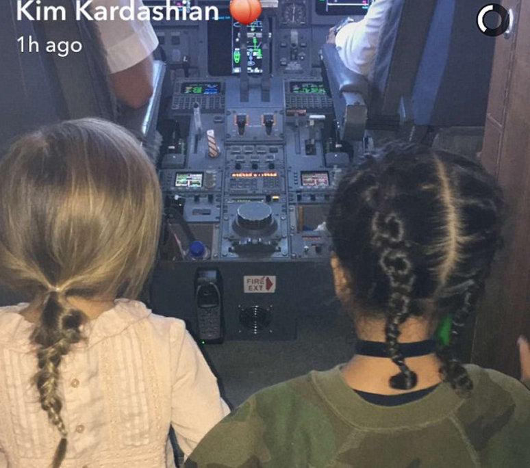 North West, Penelope Disick check out their private jet's cockpit