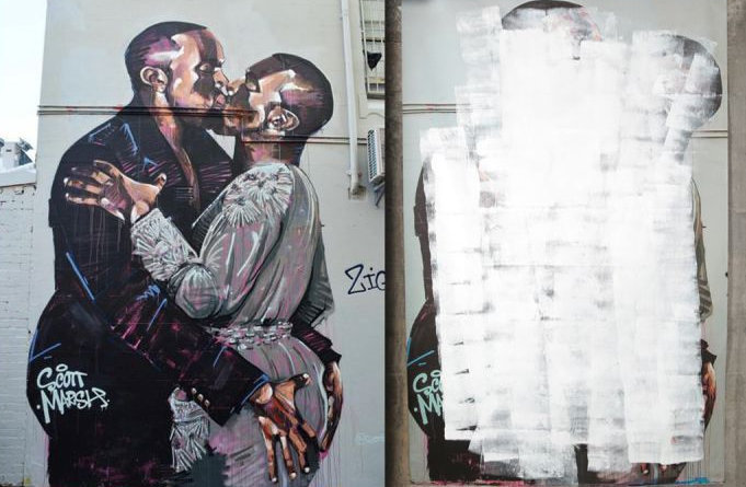 A now defunct Kanye kissing Kanye mural likely snagged $100k for artist