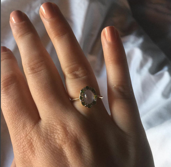Lena Dunham shows off her ring from Jack Anatoff