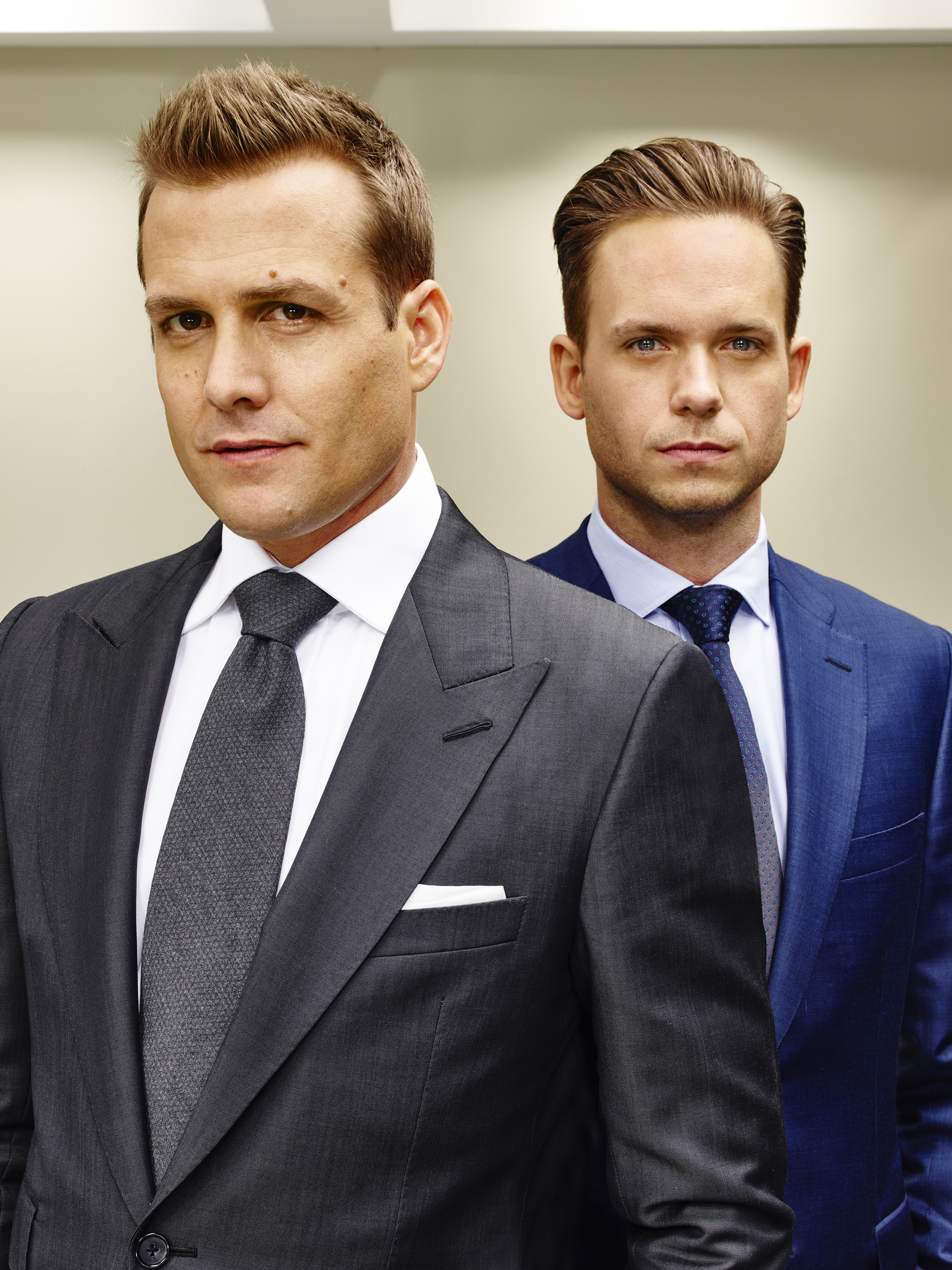 "Gabriel Macht as Harvey Specter, Patrick J. Adams as Mike Ross on ""Suits"""