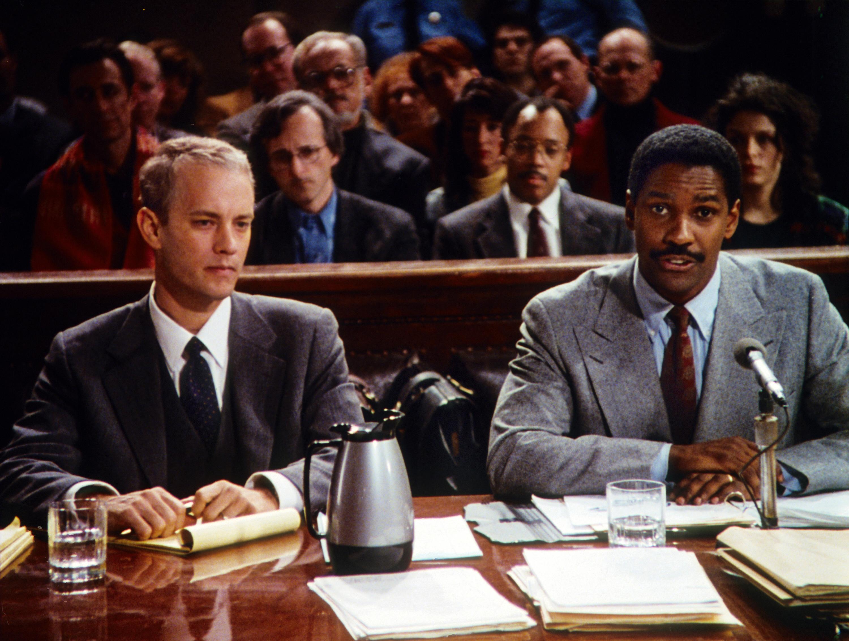 "Tom Hanks and Denzel Washington in ""Philadelphia"""