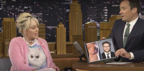 Jimmy Fallon marvels at Miley Cyrus' 'impersonator' kneecap