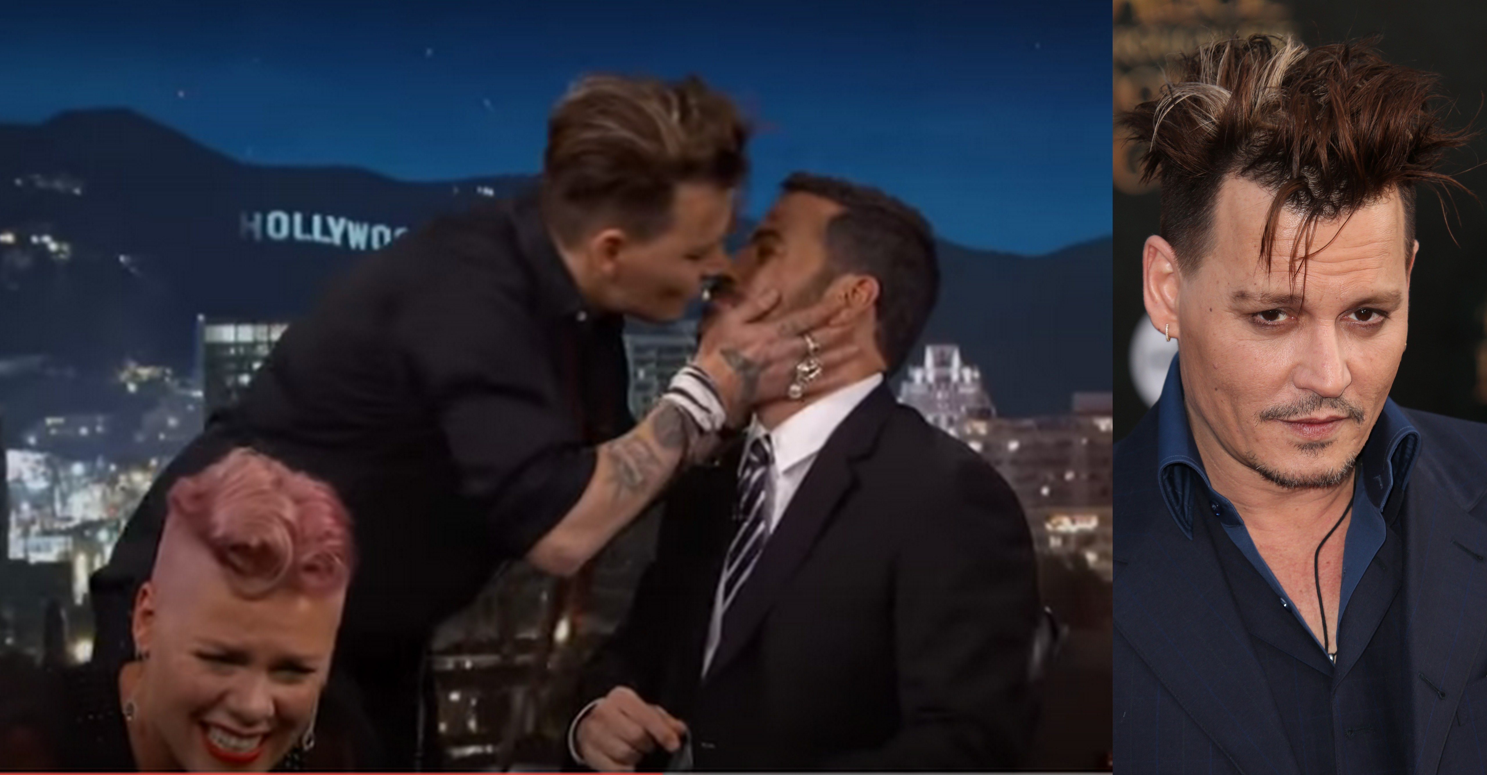Johnny Depp shows off his new '90s 'do while smooching Jimmy Kimmel