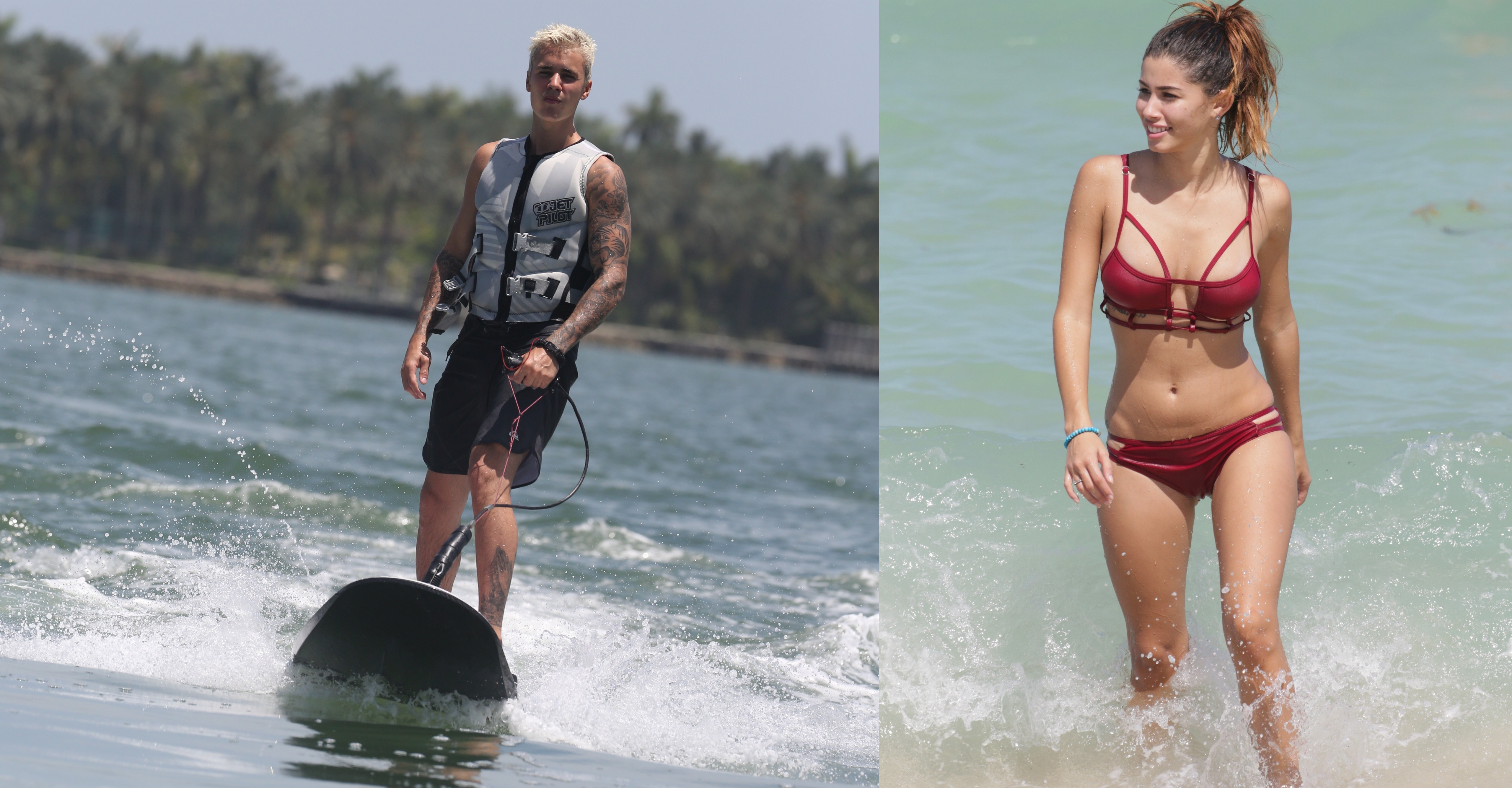 Justin Bieber goes wakeboarding with Selena Gomez lookalike
