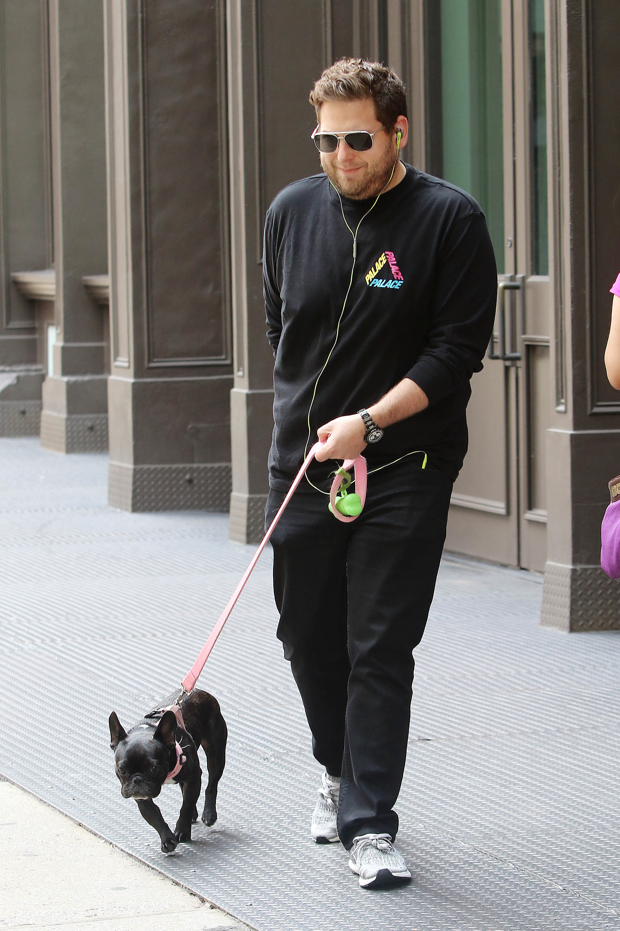 Jonah Hill steps out with his dog looking slim and trim