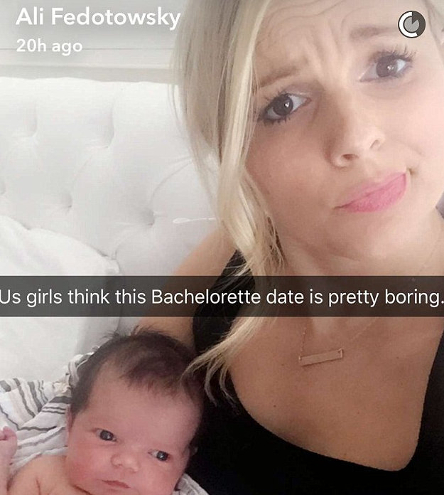 Ali Fedotowsky's 1 week old is bored by 'The Bachelorette'