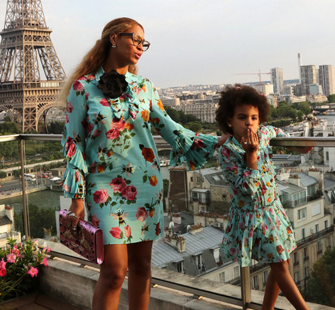 Beyonce and Blue Ivy wearing matching Gucci in Paris