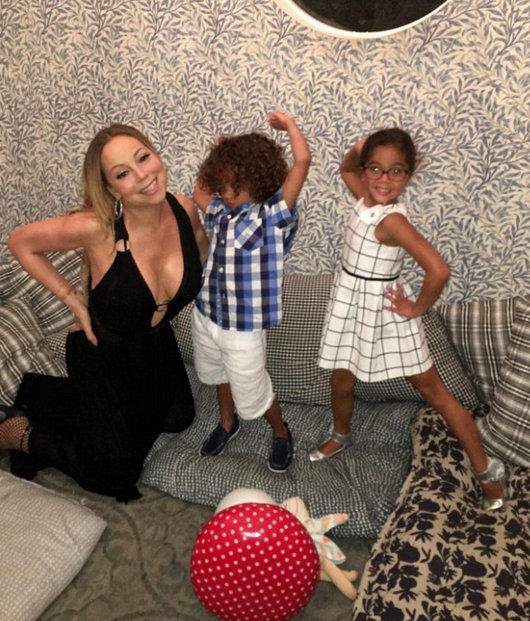 Mariah Carey takes the twins out for 'kids' night' at Au Fudge
