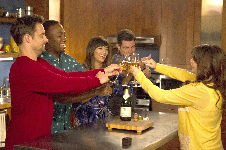 New Girl (FOX) Season 5, 2016  Episode: Big Mama P   Airdate: January 5, 2016  Shown from left: Jake Johnson, Lamorne Morris, Hannah Simone, Max Greenfield, Zooey Deschanel