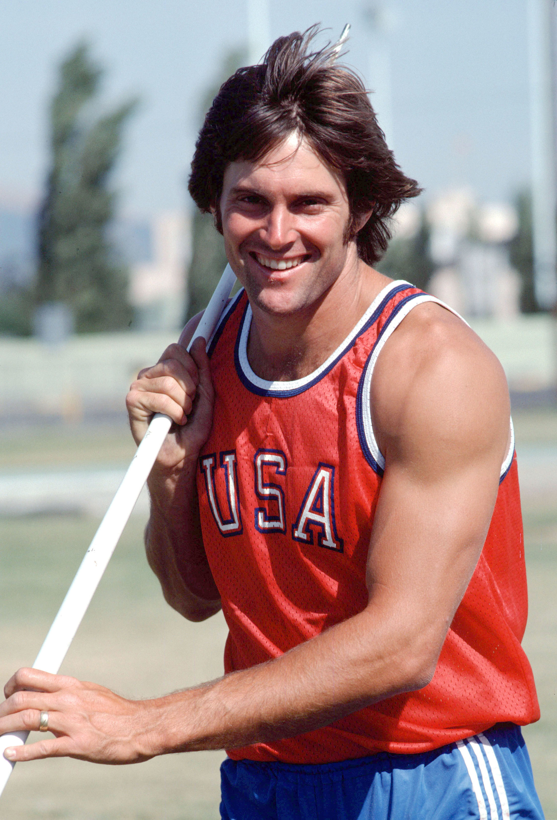 Bruce Jenner trains for the decathlon for the 1976 Summer Olympics in Montreal.