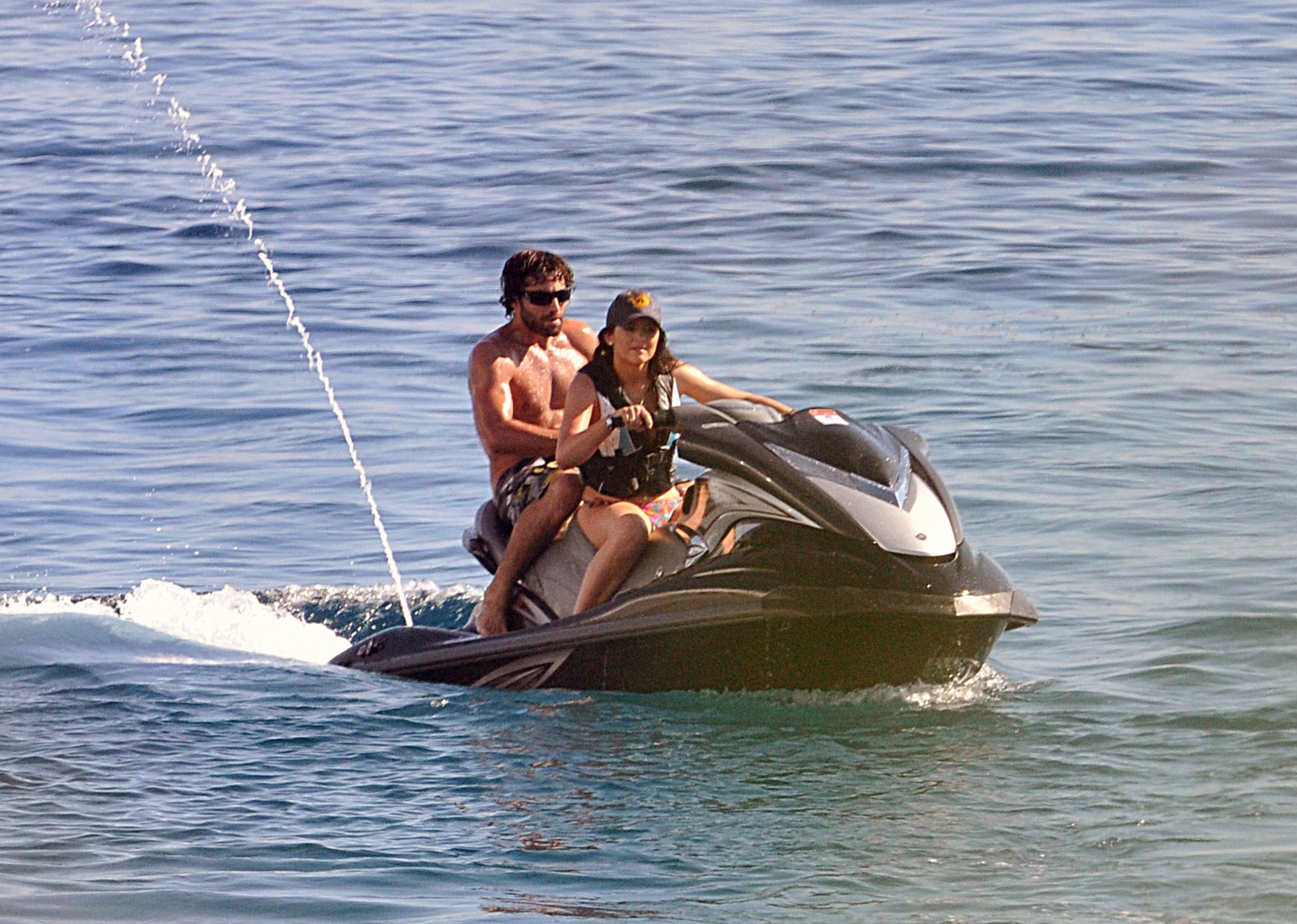 Kylie Jenner and Brody Jenner ride jet skis in Mykonos, Greece, in April 2013.