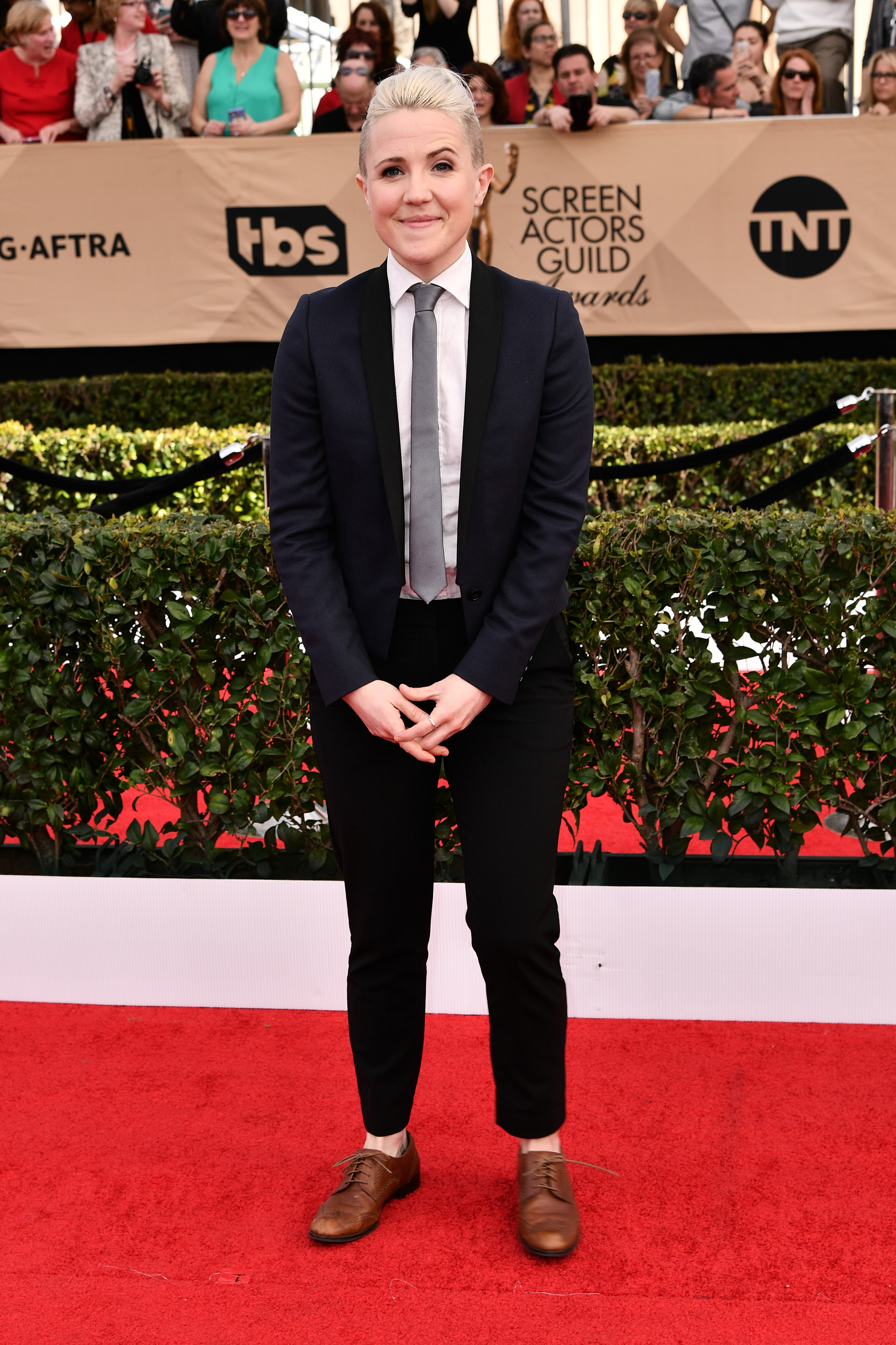 Hannah Hart arrives at the 23rd Annual Screen Actors Guild Awards at the Shrine Auditorium in Los Angeles on Jan. 29, 2017.
