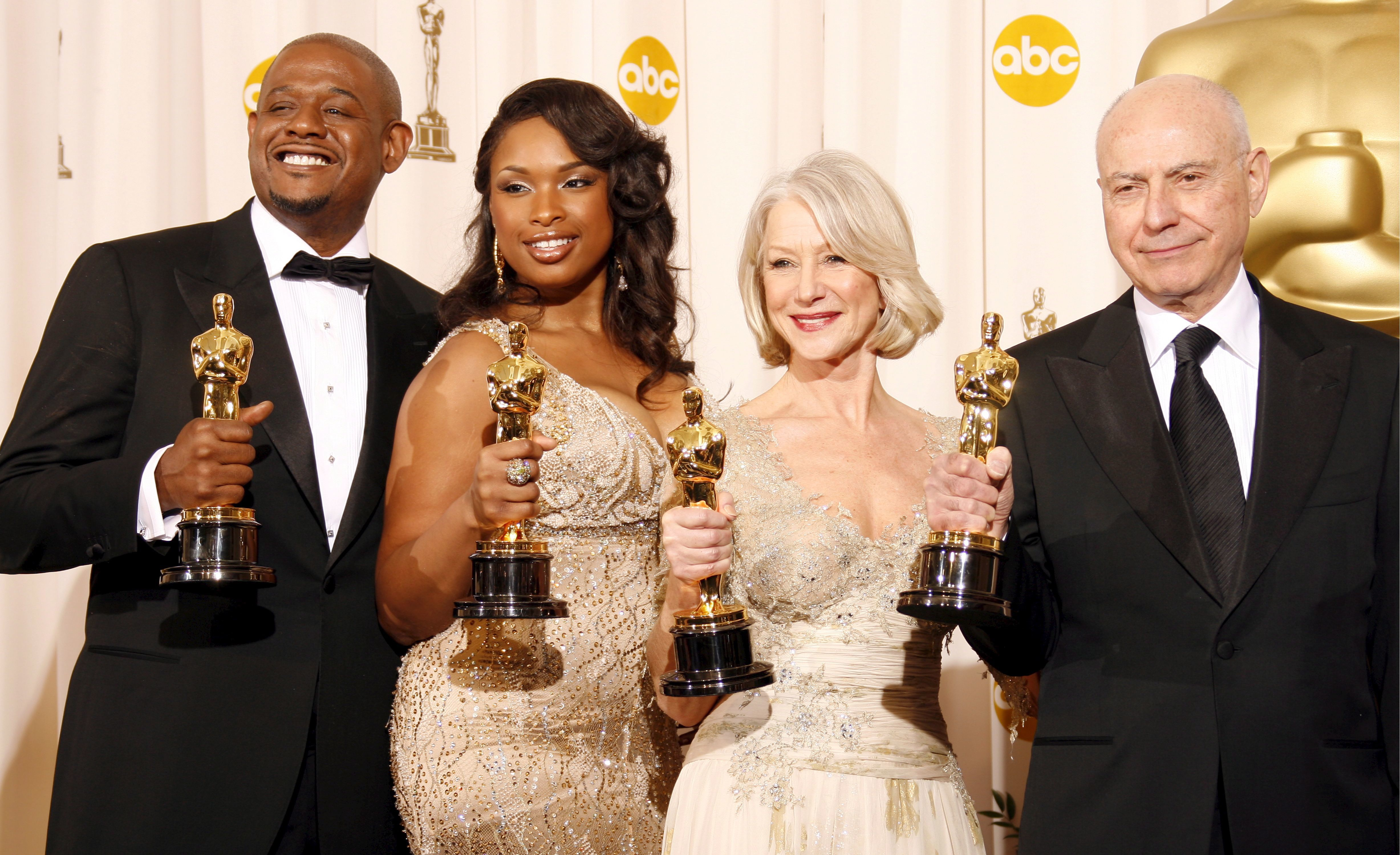 Forest Whitaker, Jennifer Hudson, Helen Mirren and Alan Arkin pose with their Oscars during the 79th Annual Academy Awards at the Kodak Theatre in Hollywood on Feb. 25, 2007.
