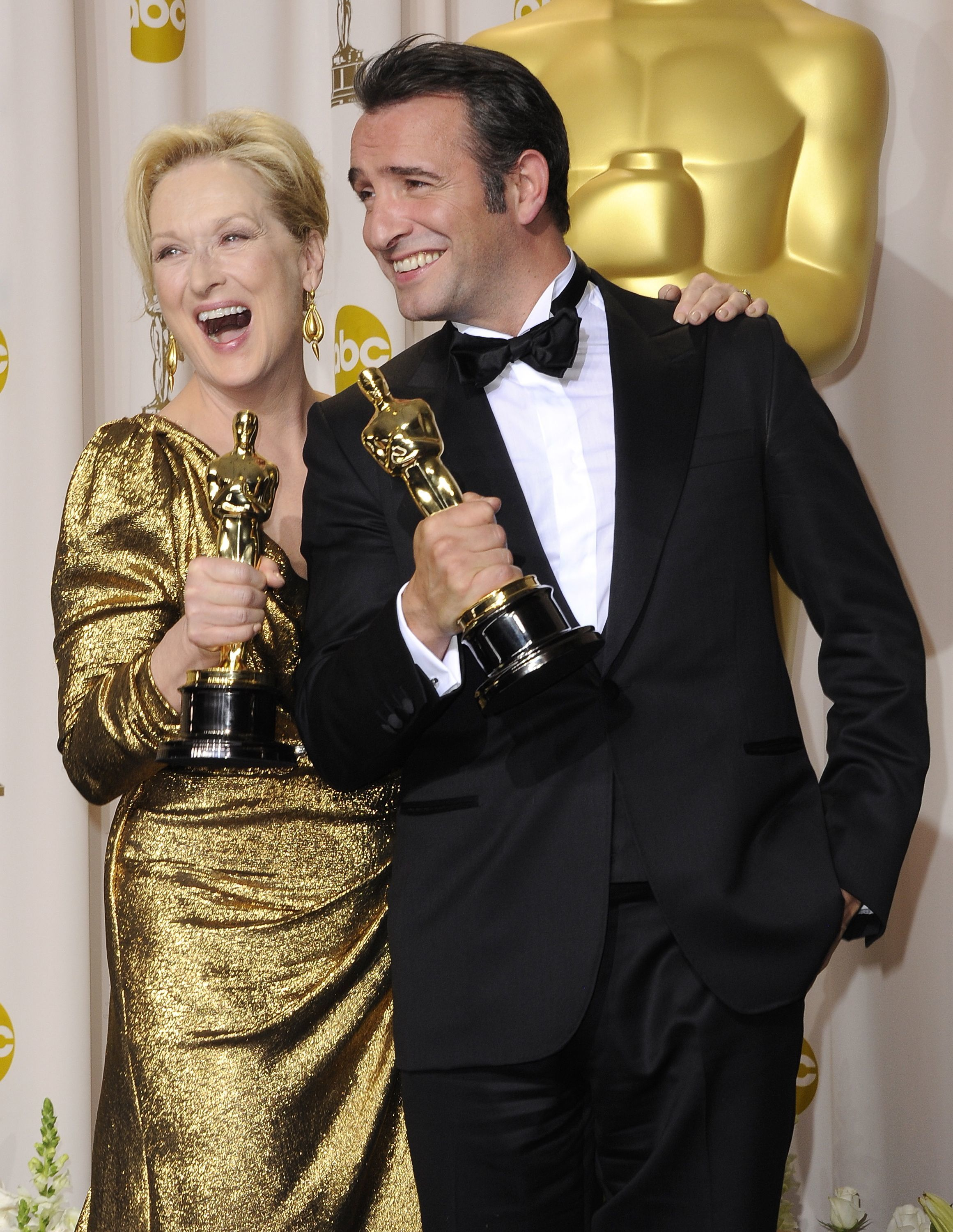 Meryl Streep and Jean Dujardin attend the 84th Annual Academy Awards at the Hollywood and Highland Center in Hollywood in 2012.