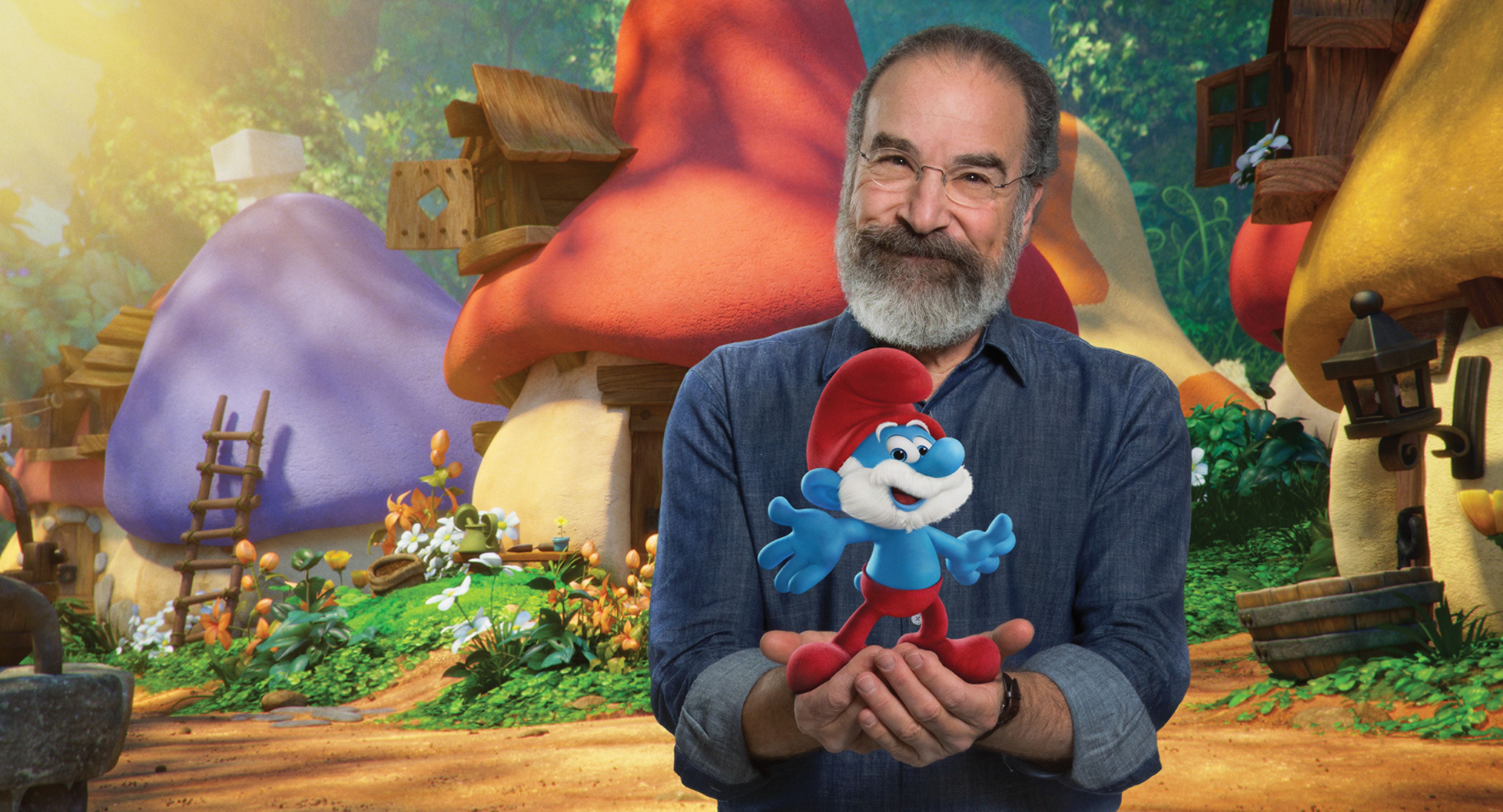 """Mandy Patinkin appears in a promotional photo for 2017's """"Smurfs: The Lost Village."""""""
