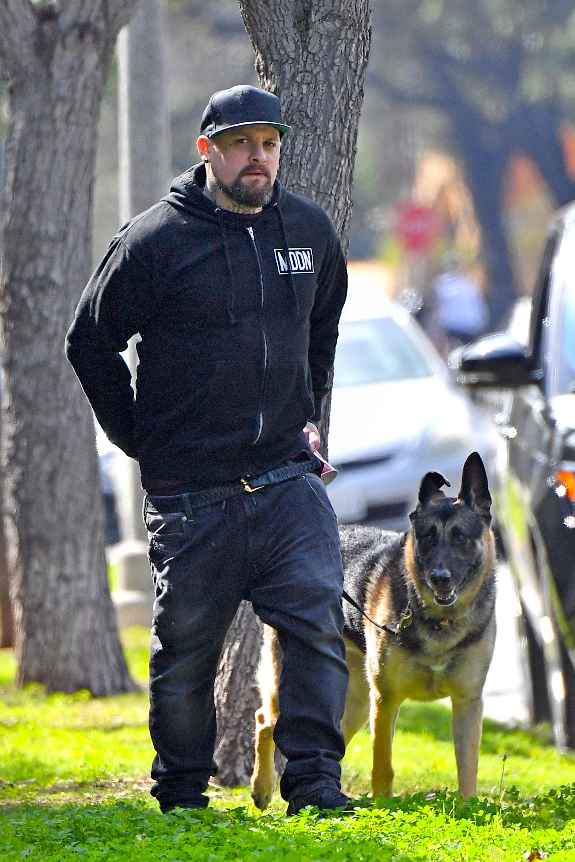 Benji Madden takes his dog out for a walk in Beverly Hills on March 4, 2017.