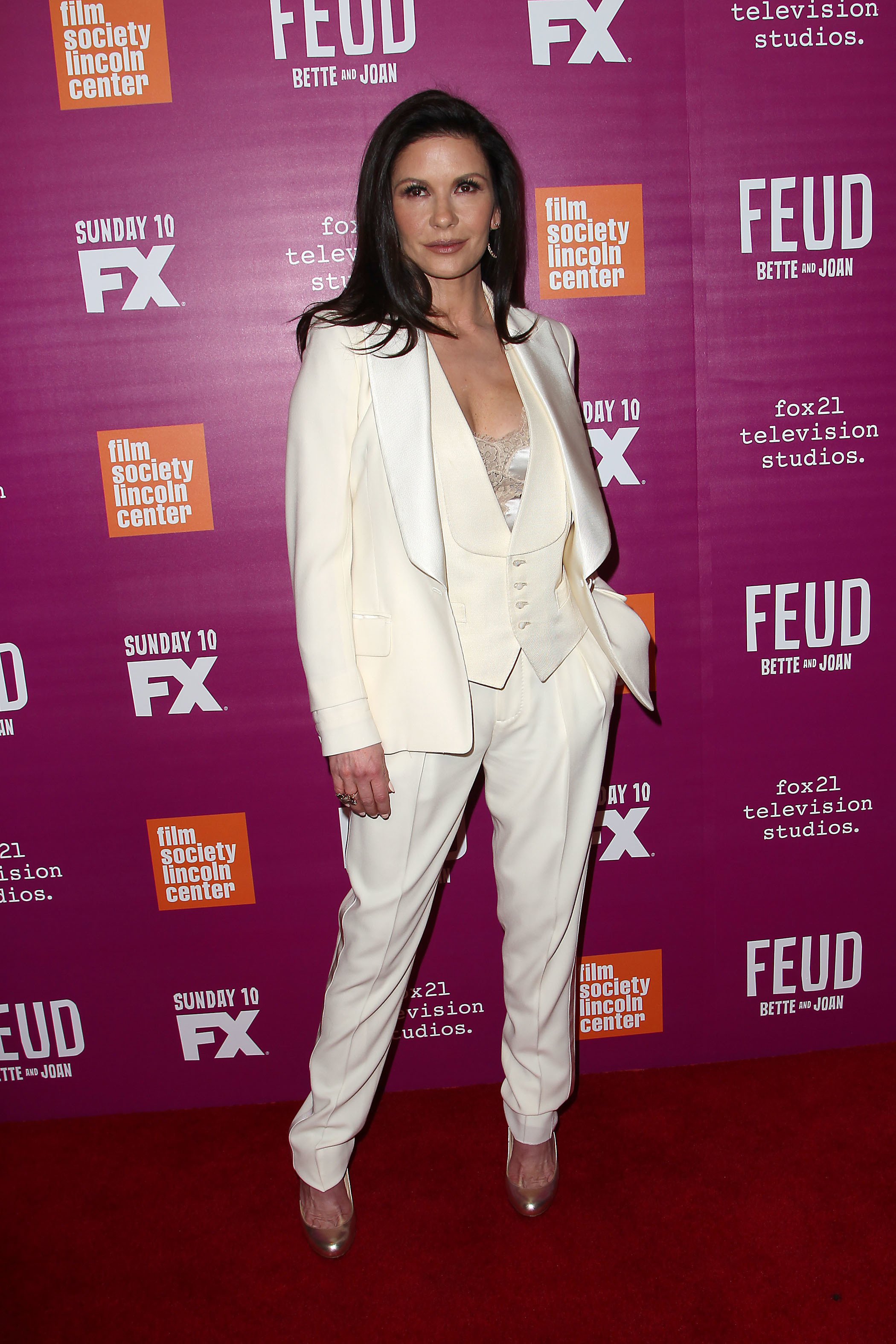 """Catherine Zeta Jones attends the """"Feud: Bette and Joan"""" red carpet event in New York on April 18, 2017."""