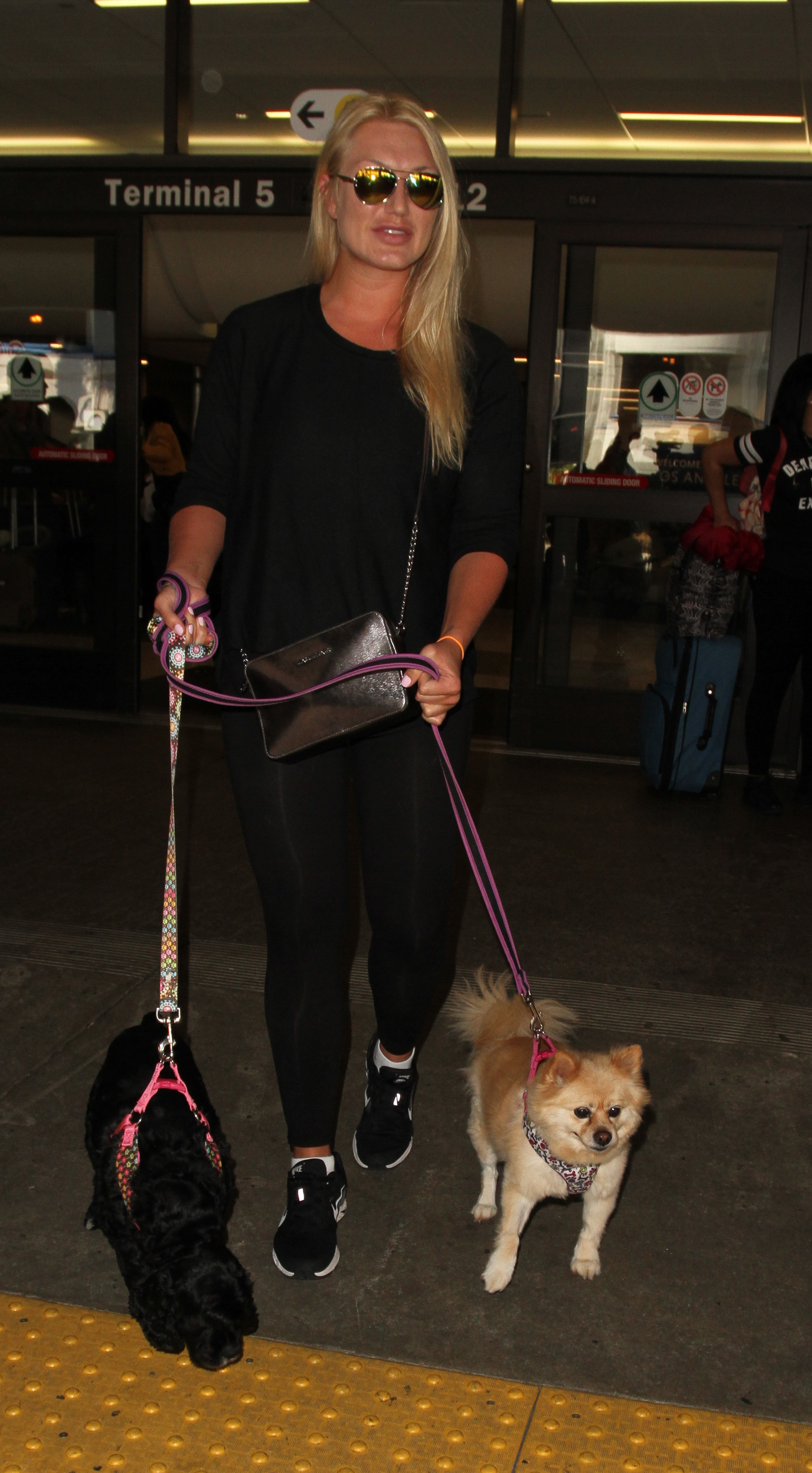 Brooke Hogan arrives at the Los Angeles International Airport with her dogs in Los Angeles on March 31, 2016.