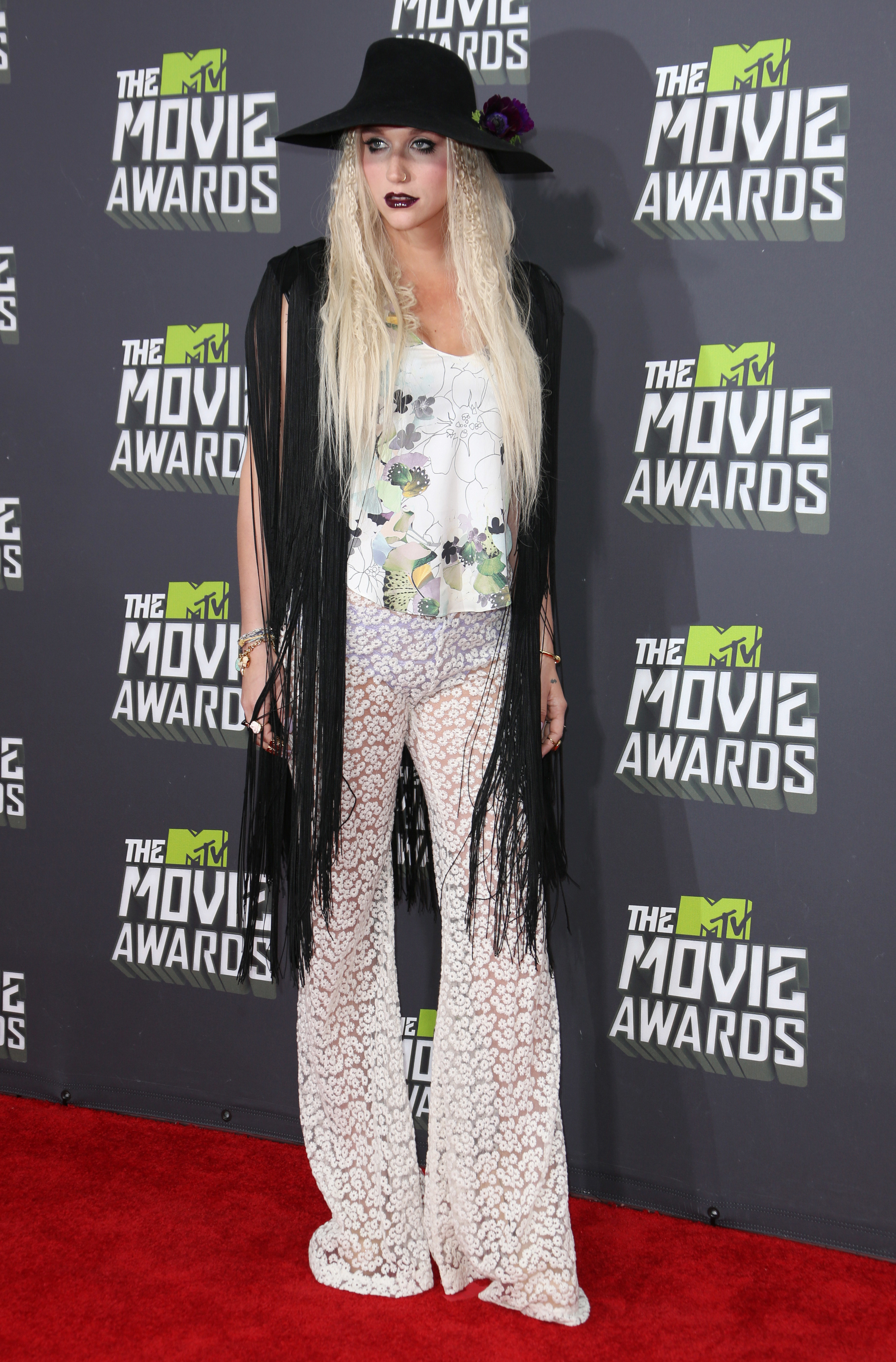 Ke$ha attends the 2013 MTV Movie Awards in Los Angeles on April 14, 2013.