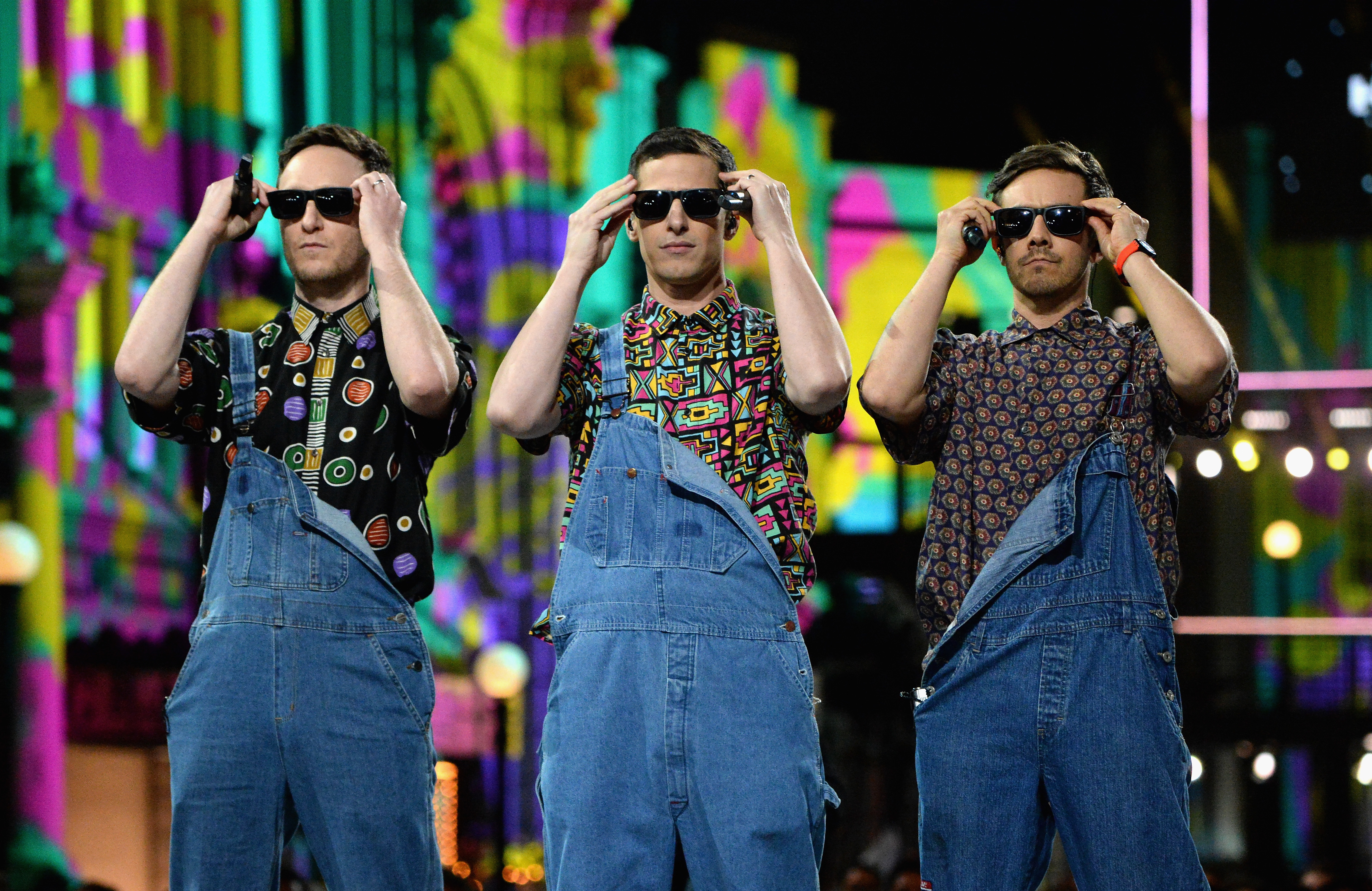 Akiva Schaffer, Andy Samberg and Jorma Taccone of The Lonely Island perform onstage during the 2016 MTV Movie Awards in Burbank, California on April 9, 2016.